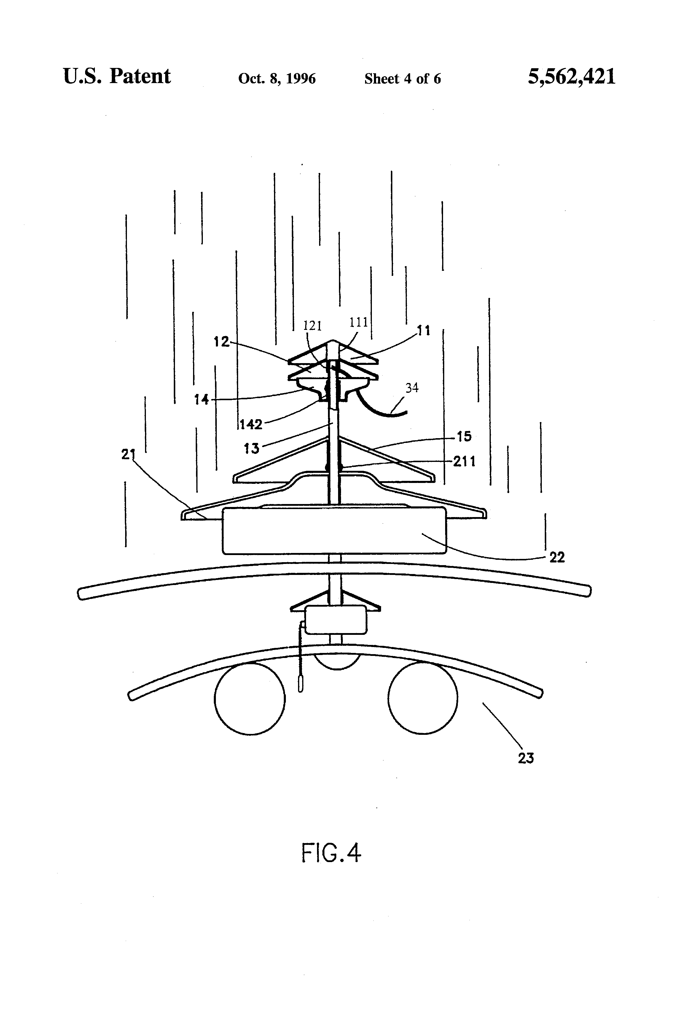 patent us5562421 - water-proof outdoor ceiling fan mounting structure