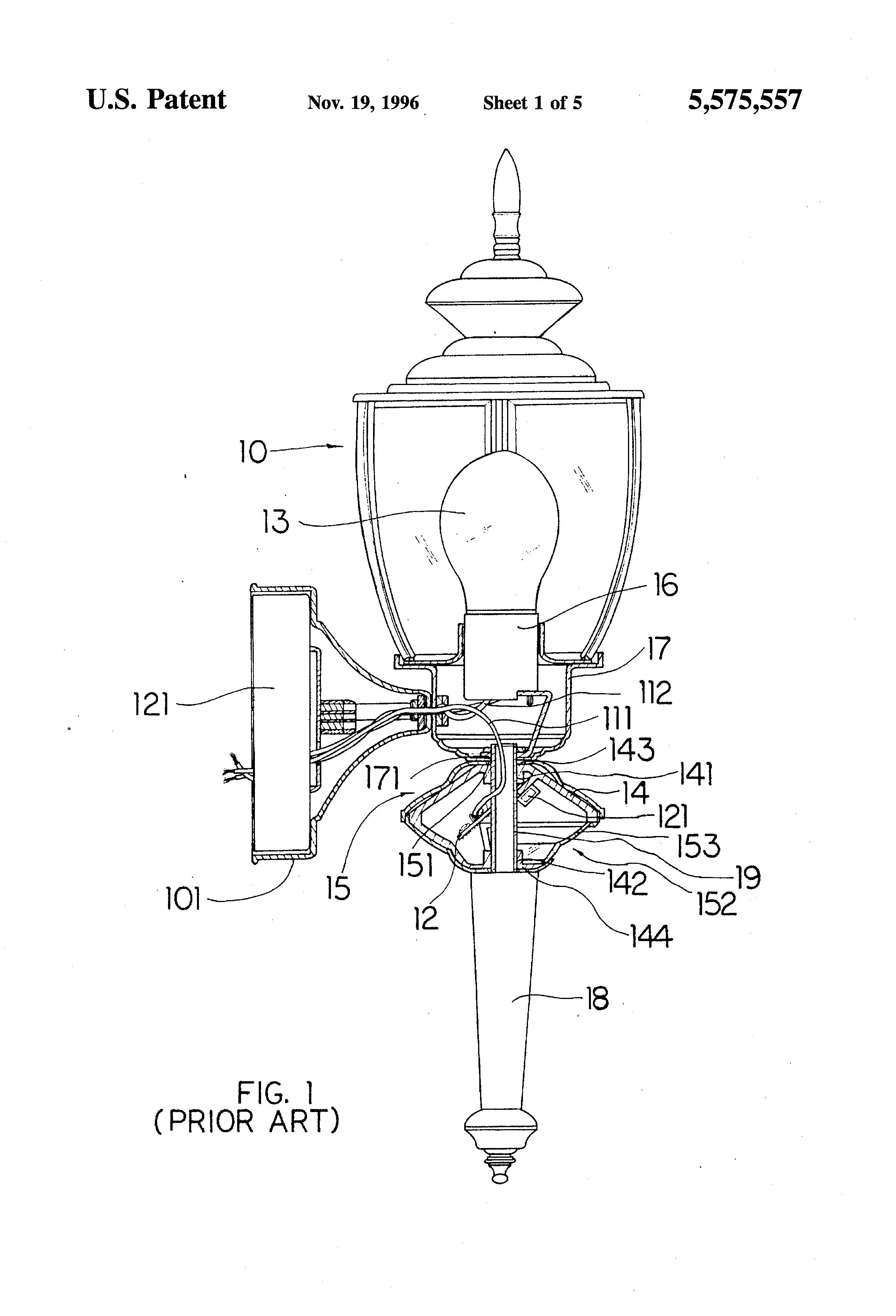 patent us5575557 - motion sensor light apparatus