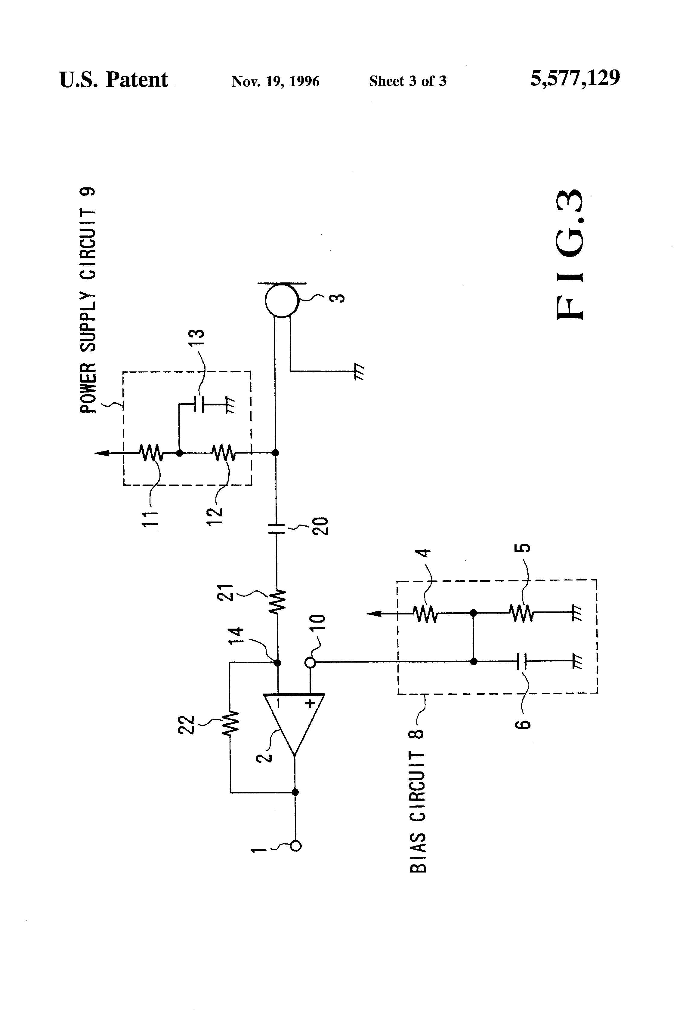 patent us5577129 amplifier circuit for electret Electret Microphone Cartridge electret condenser microphone preamp circuit