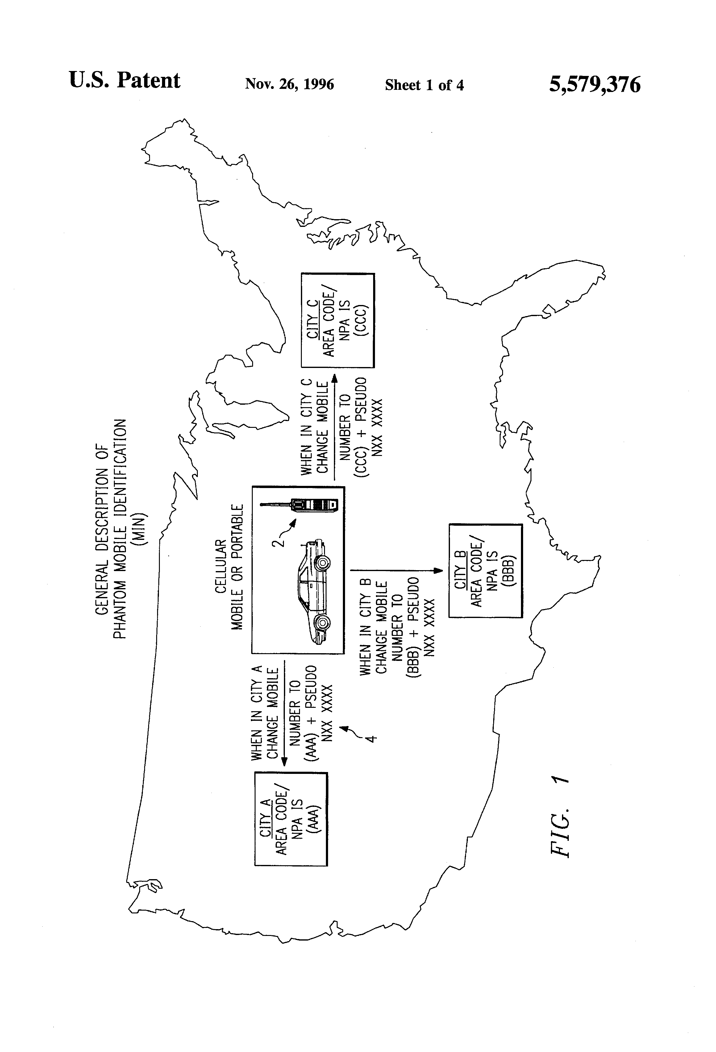 Patent US5579376  Phantom mobileidentification number method and