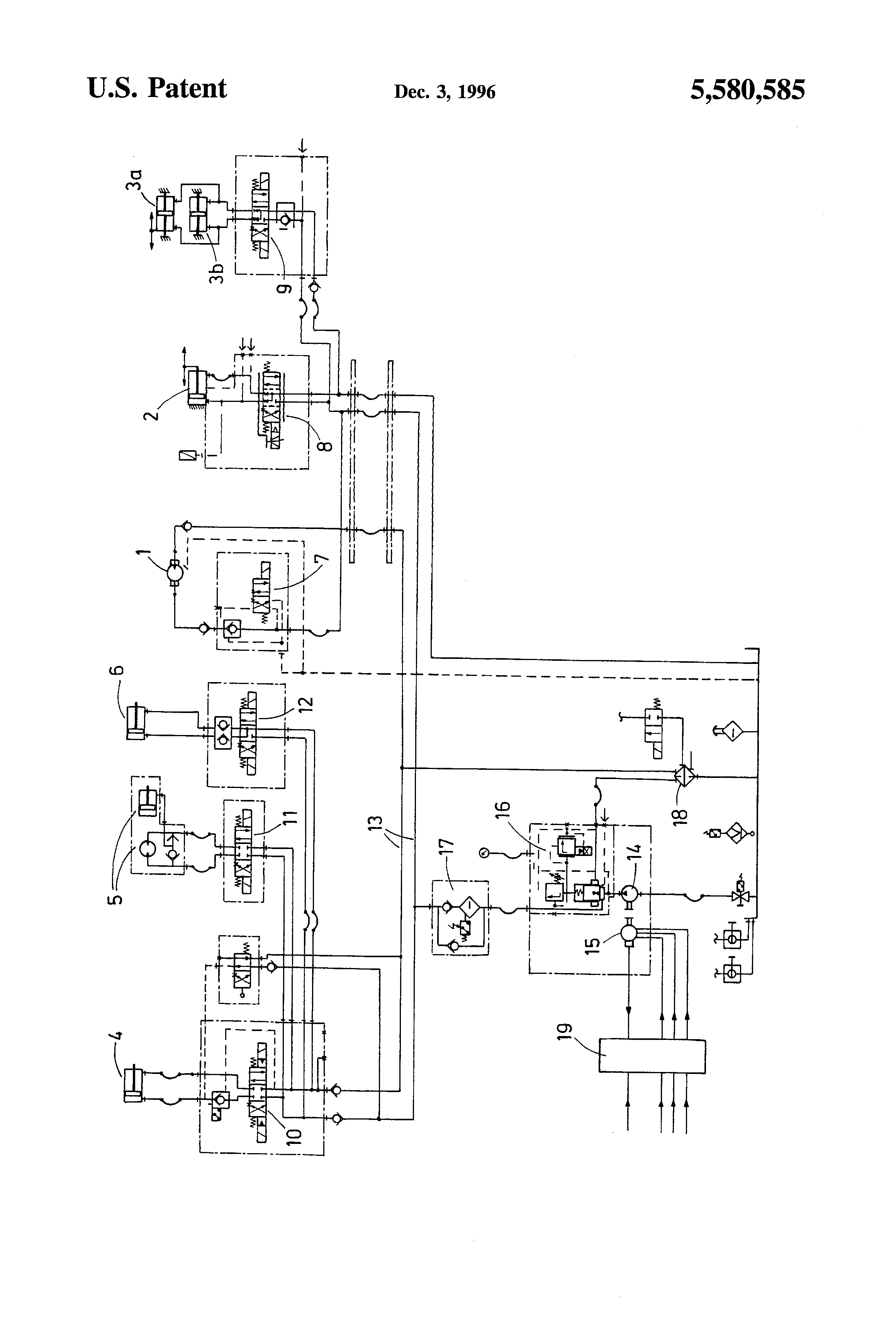 patent us5580585 - hydraulic operational system for an injection molding machine