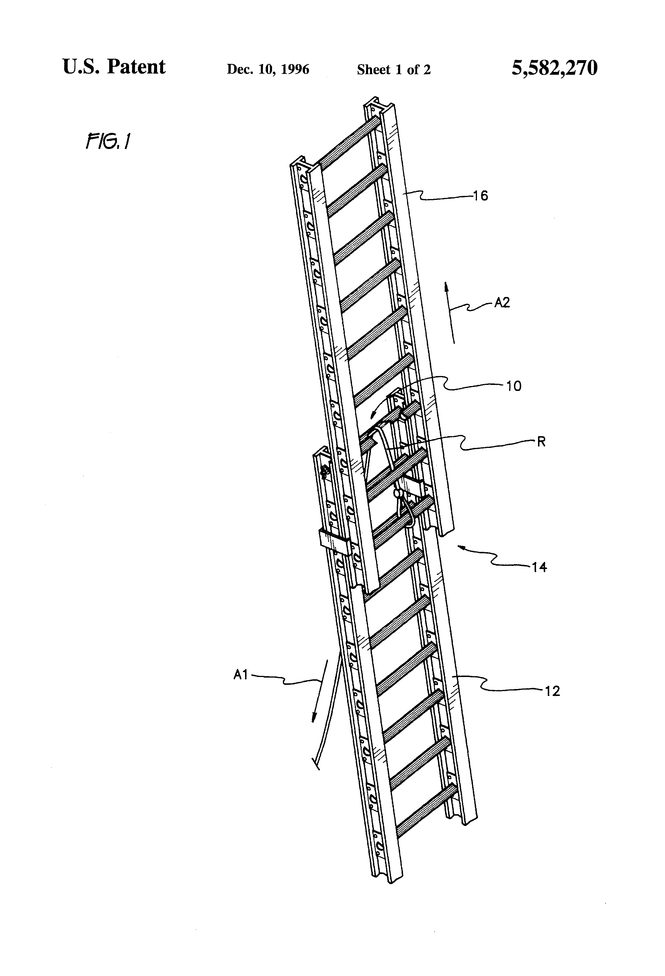 patent us5582270 - extension ladder pulley system