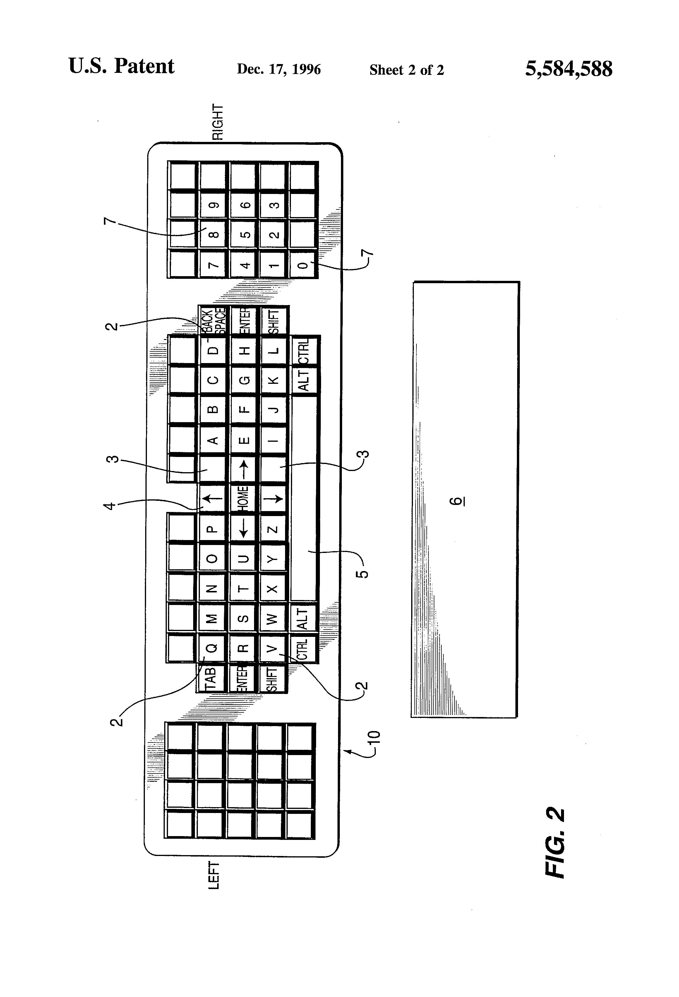 patent us5584588 - computer keyboard layout