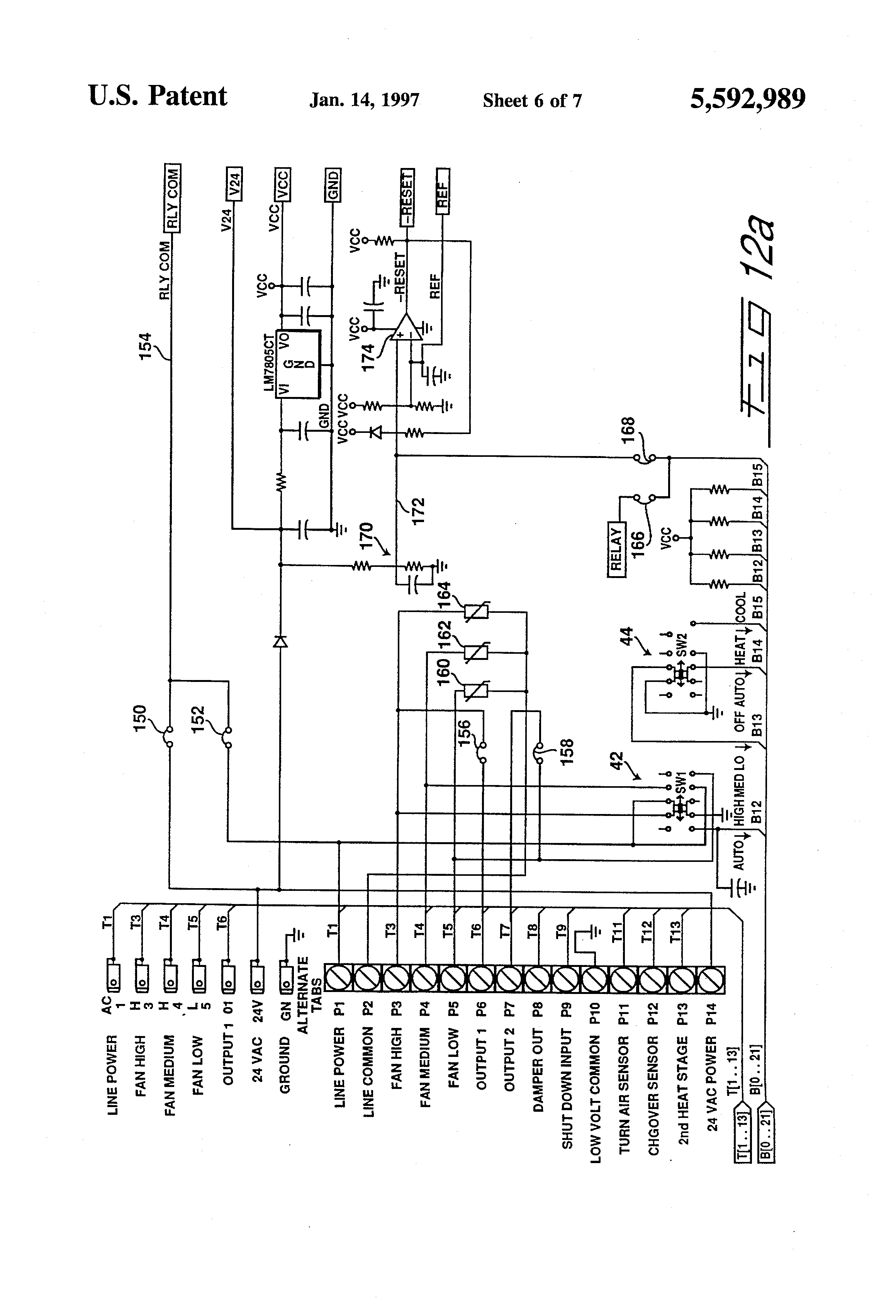 US5592989 6 patent us5592989 electronic thermostat having high and low fcu wiring diagram at cos-gaming.co