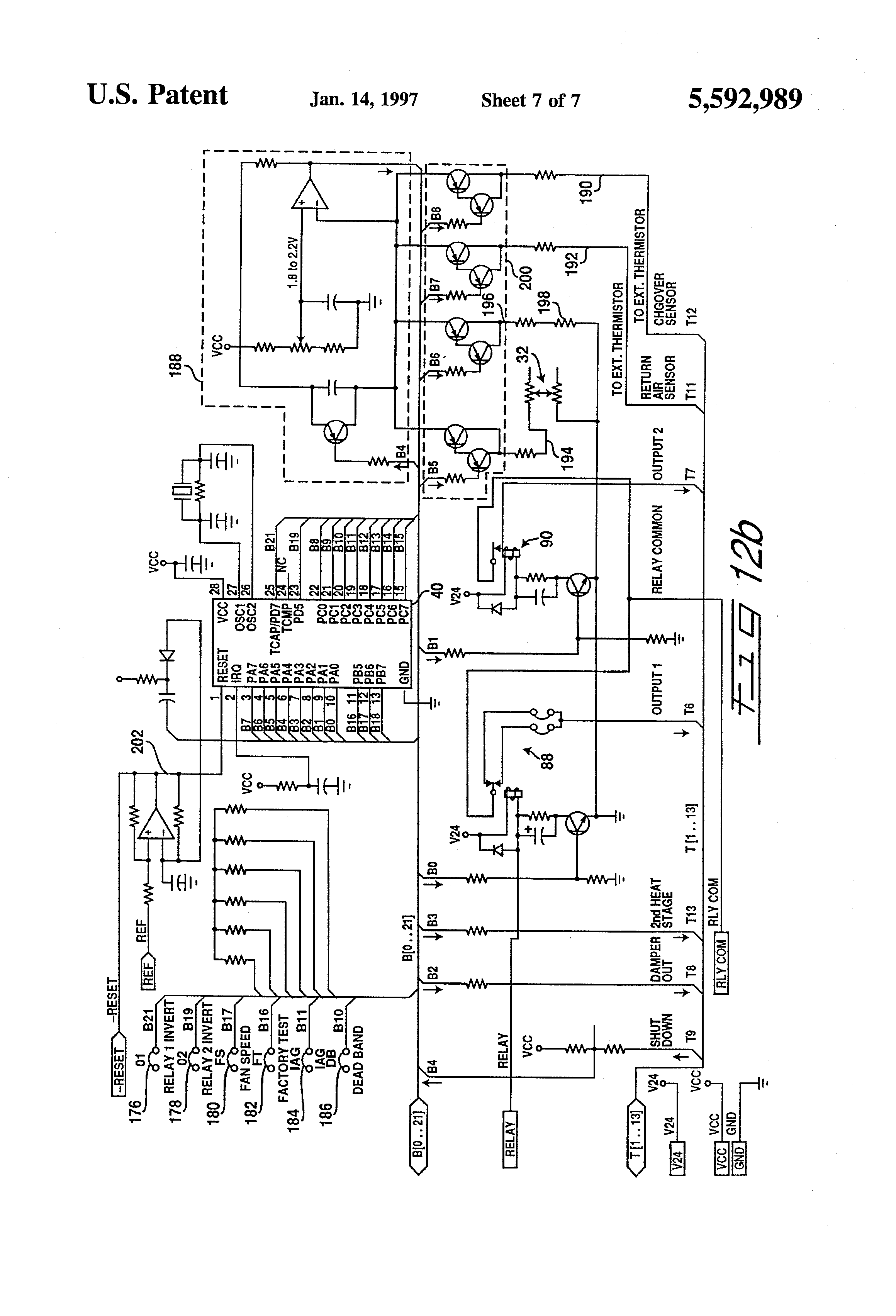 US5592989 7 patent us5592989 electronic thermostat having high and low Honeywell Thermostat Wiring Diagram at love-stories.co