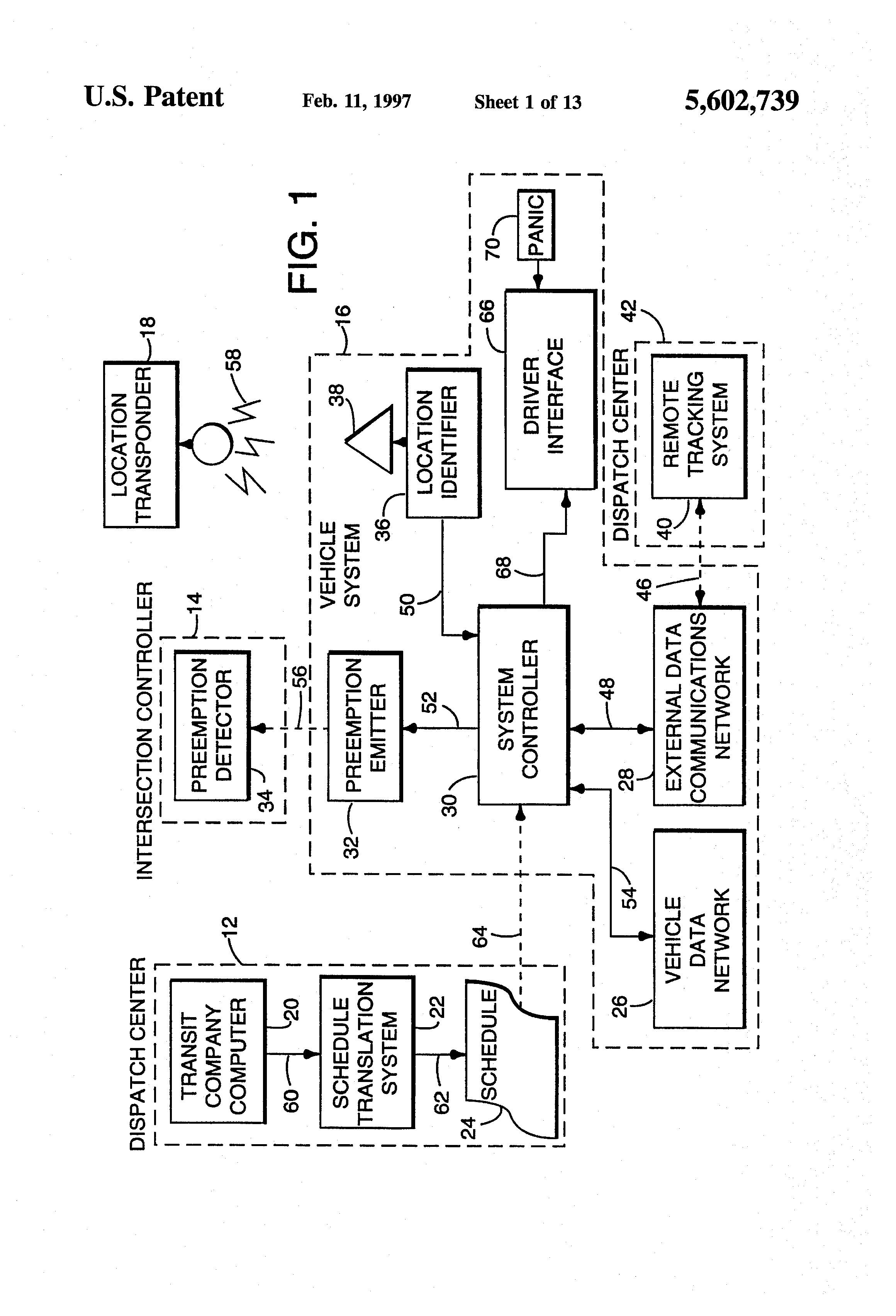 patent us5602739 - vehicle tracking system incorporating traffic signal preemption