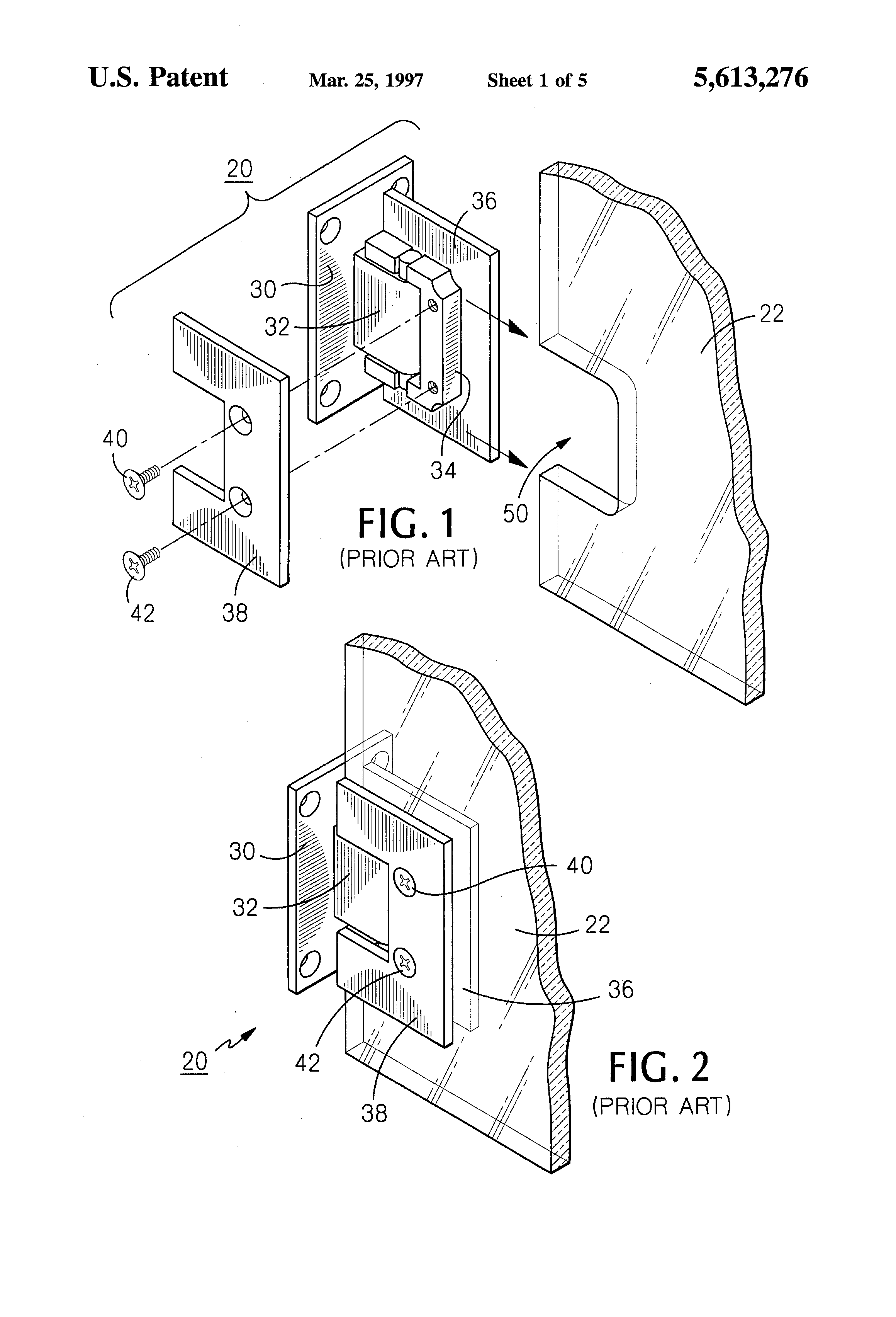 Patent US5613276 - Glass shower door hinge system and method ...