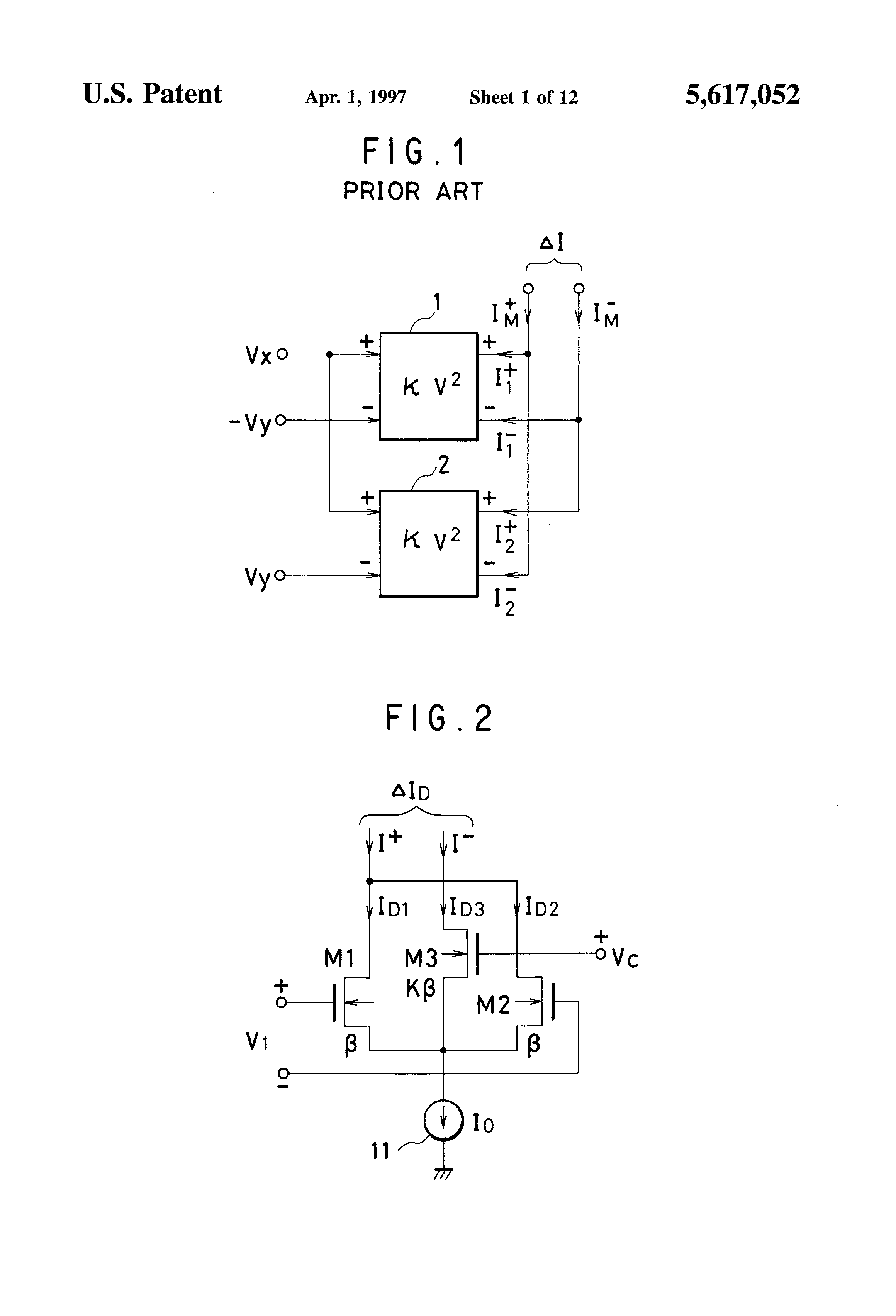 Patent Us5617052 Transconductance Variable Analog Multiplier Using Simple Circuit Of Not Gate Which Is Realized Bipolar Transistor Drawing