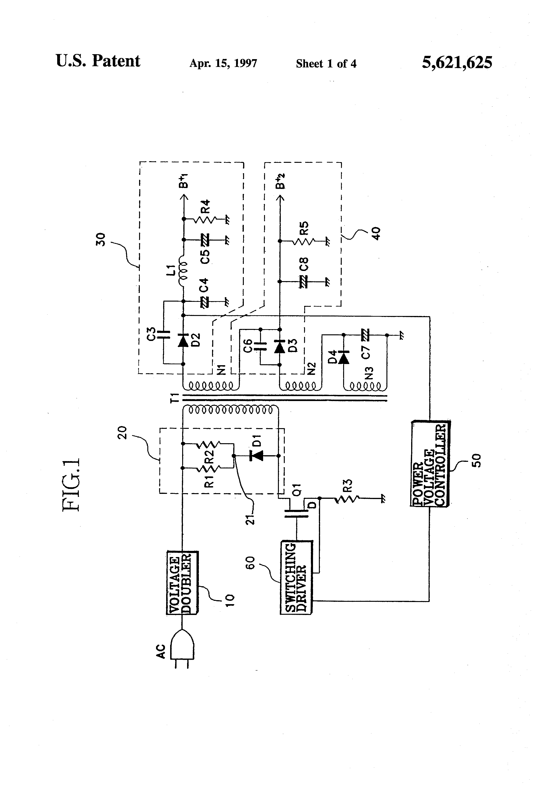patent us5621625 - surge protection circuit for a switching mode power supply