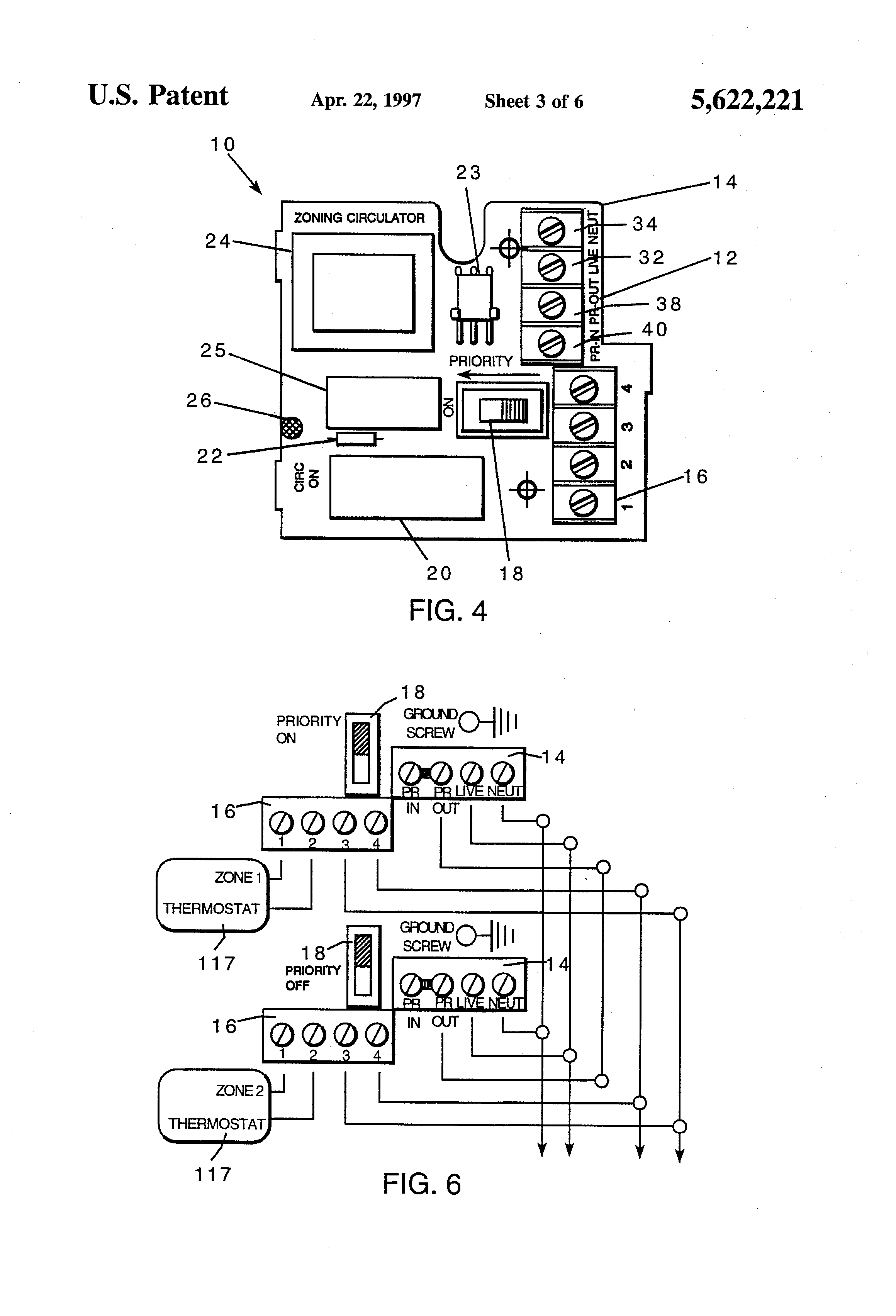Patent Us5622221 Integrated Zoning Circulator With Priority Taco 111 Wiring Diagram Drawing