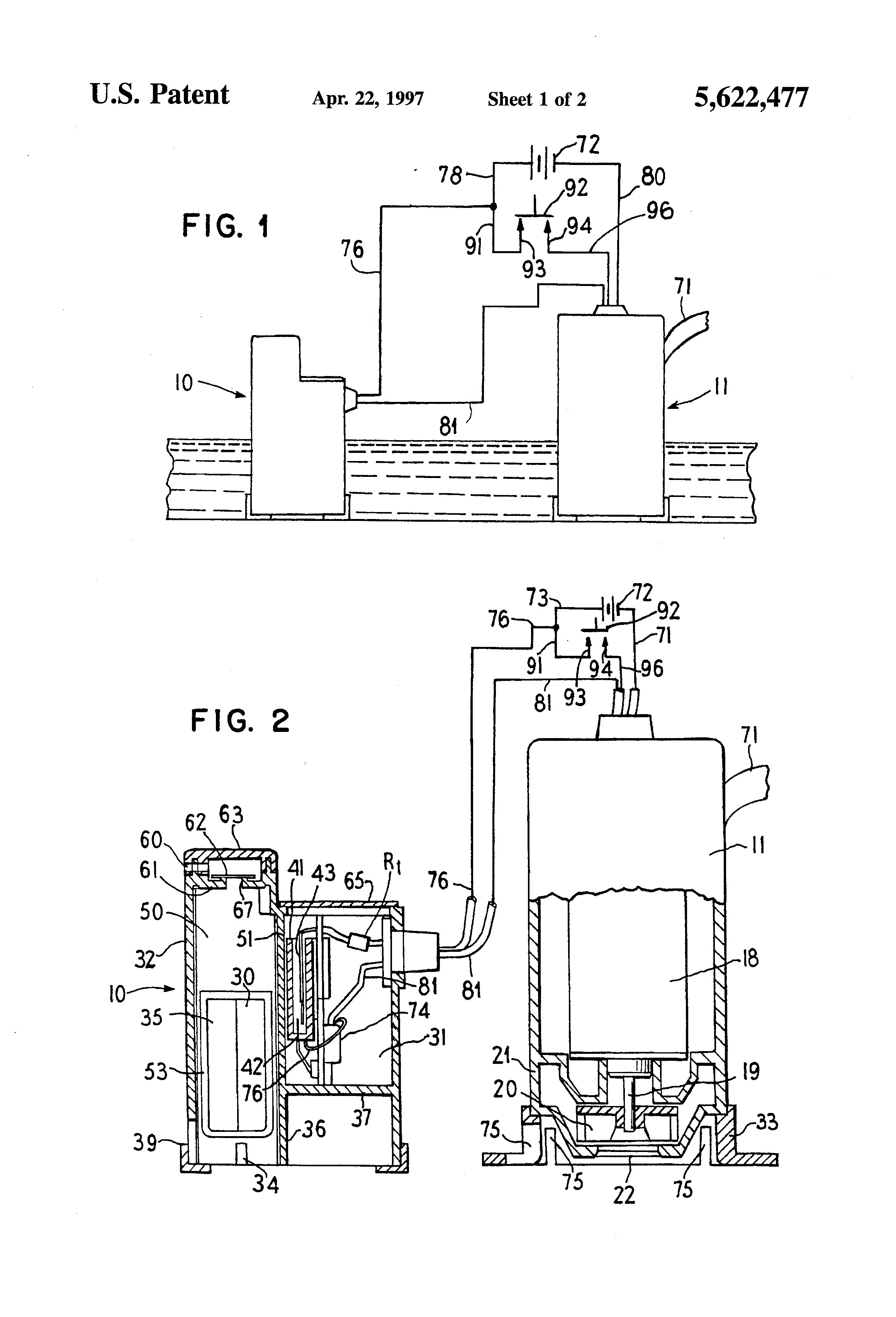 patent us5622477 - switch for bilge and sump  pump with automatic float control
