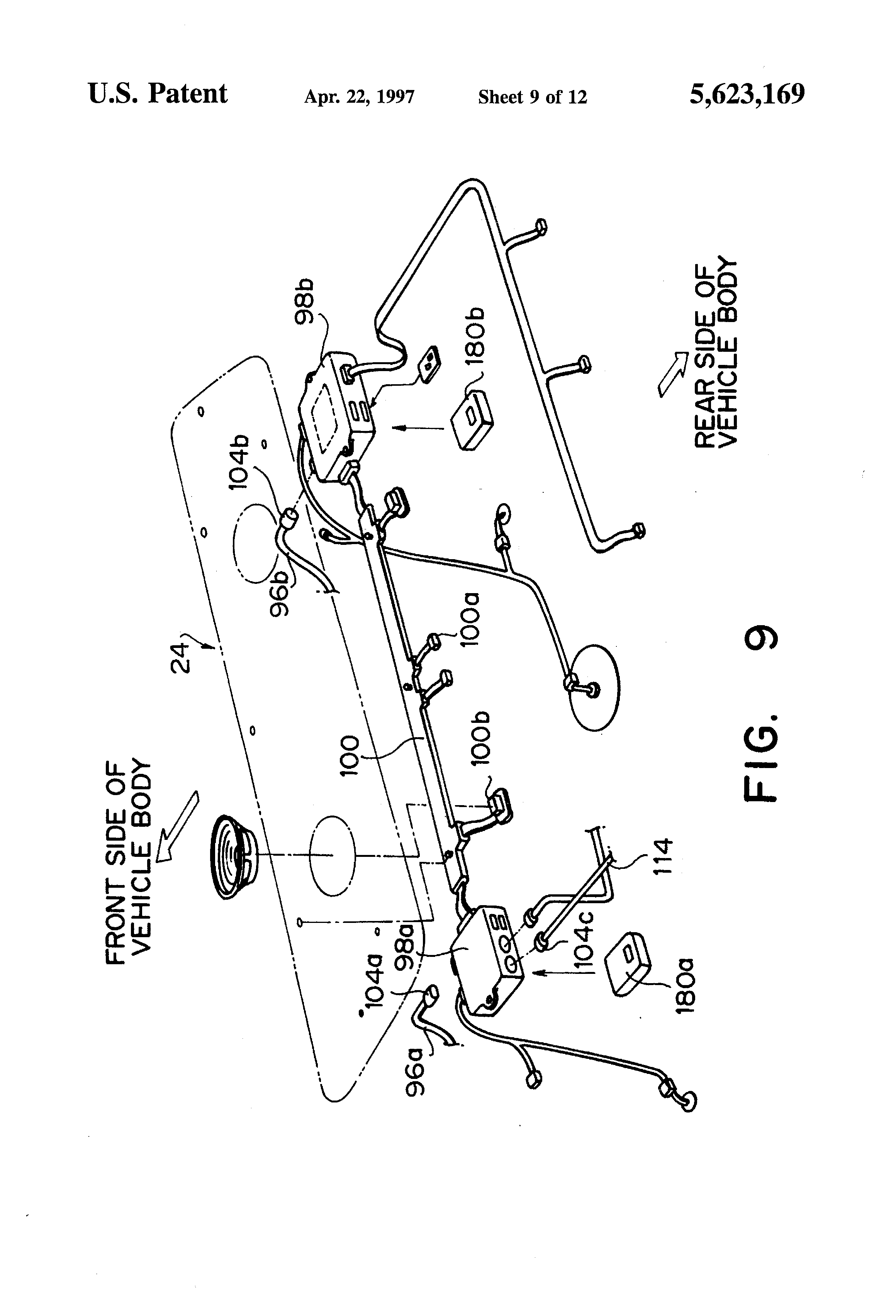 patent us5623169 - electrical wiring harness structure for vehicle