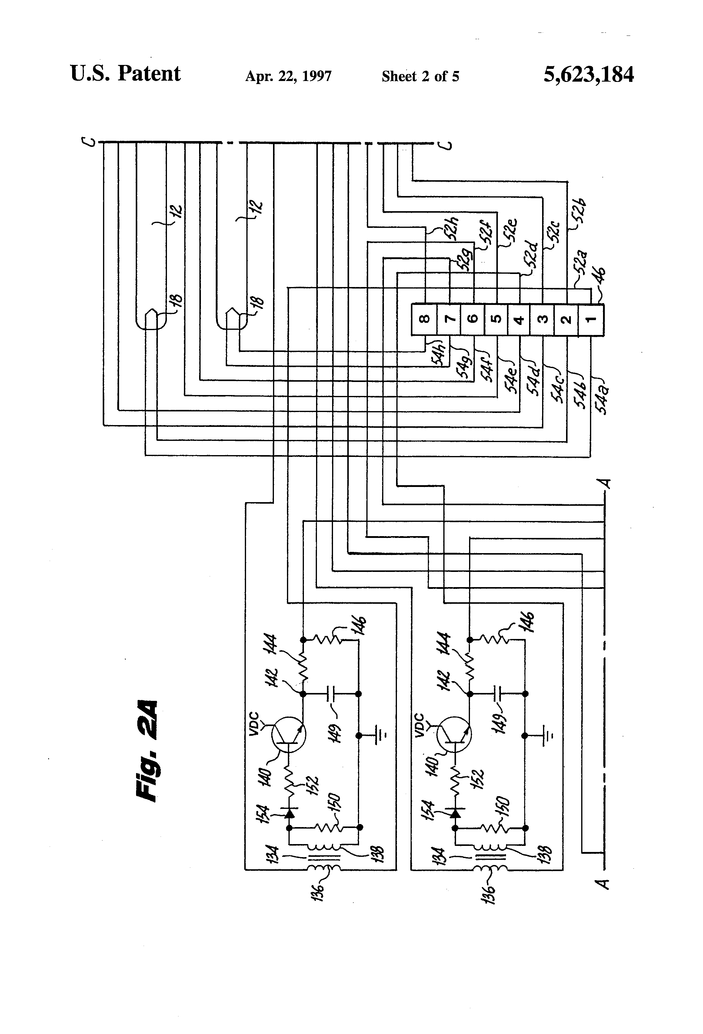 patent us5623184 - lamp circuit with filament current fault monitoring means