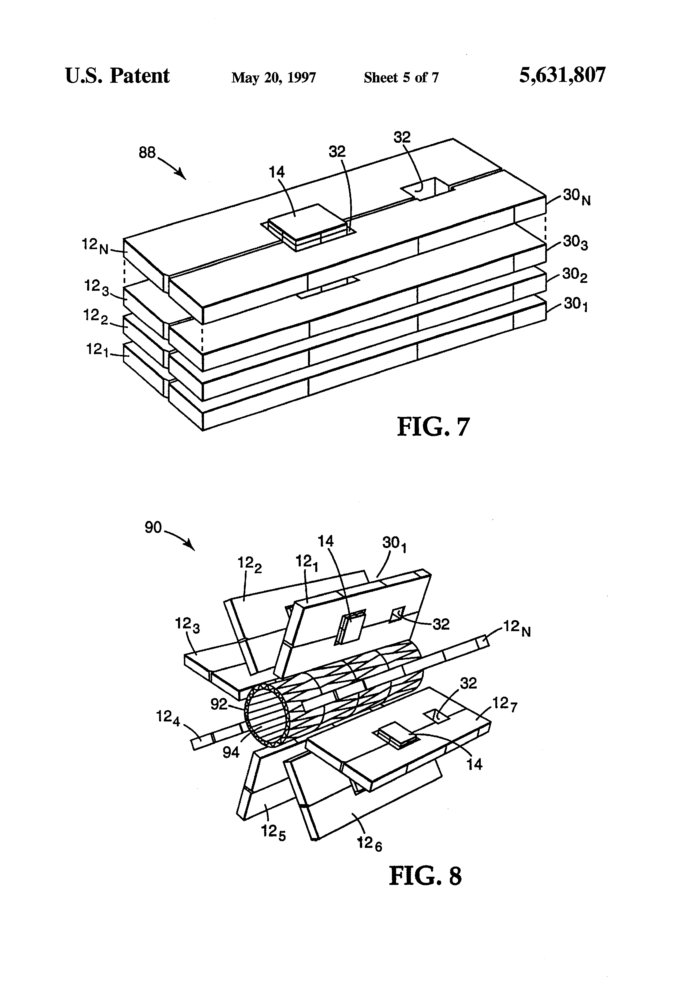 patent us5631807 - electronic circuit structure with aperture suspended component