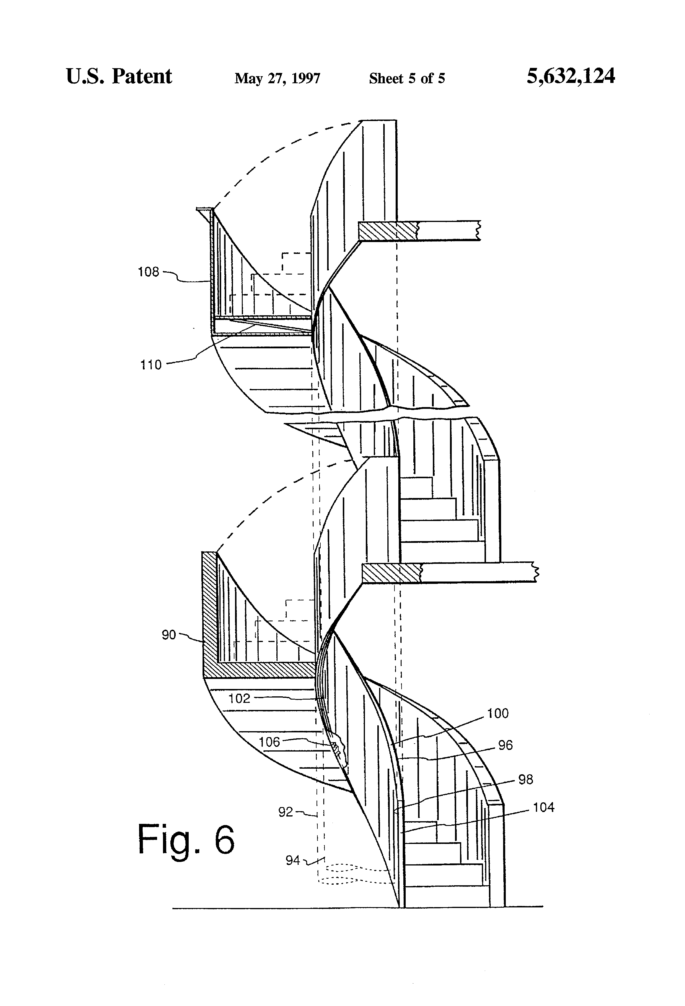 Patent us5632124 circular stairway and method of making for Spiral stair cad