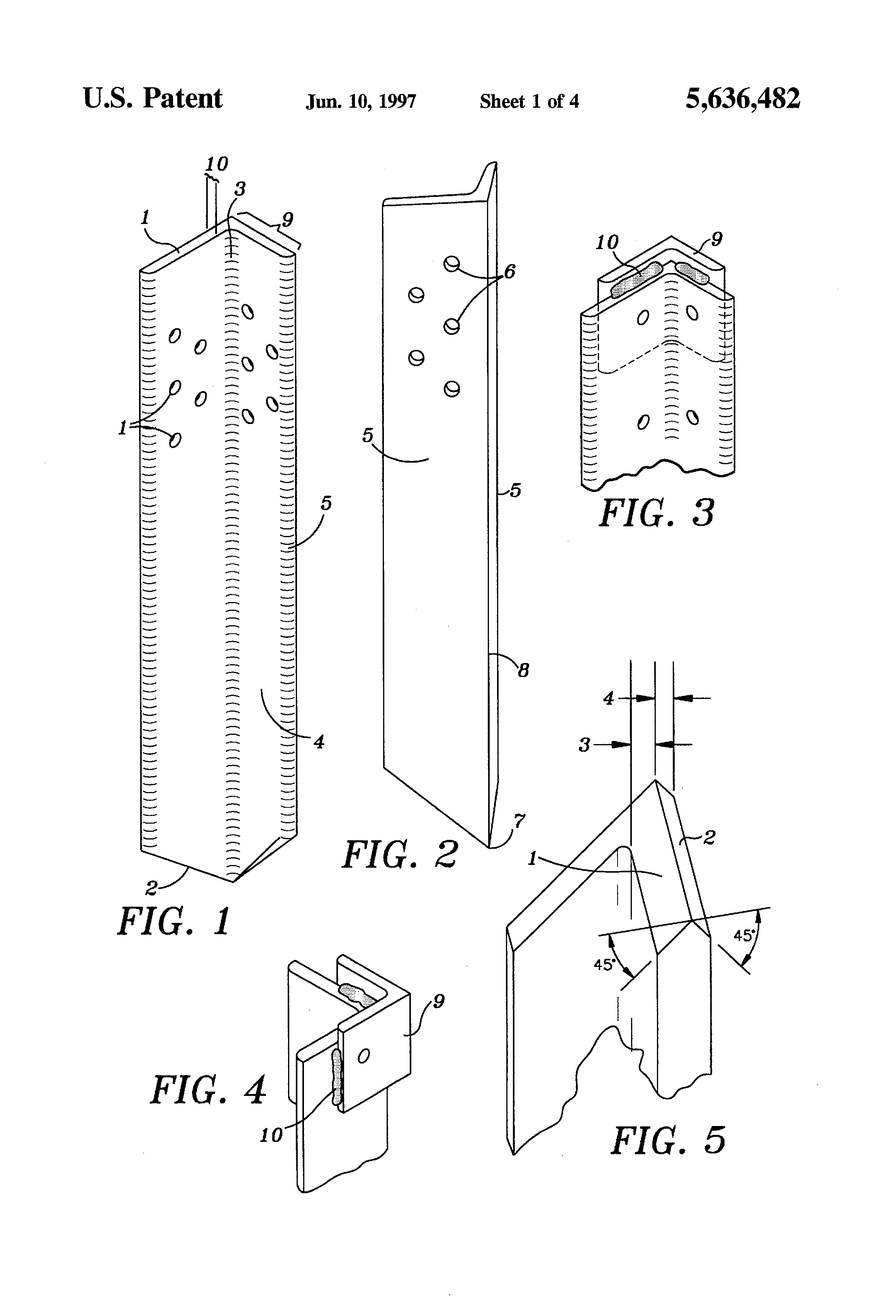Patent us5636482 wood fence post repair device and method patent drawing baanklon Choice Image
