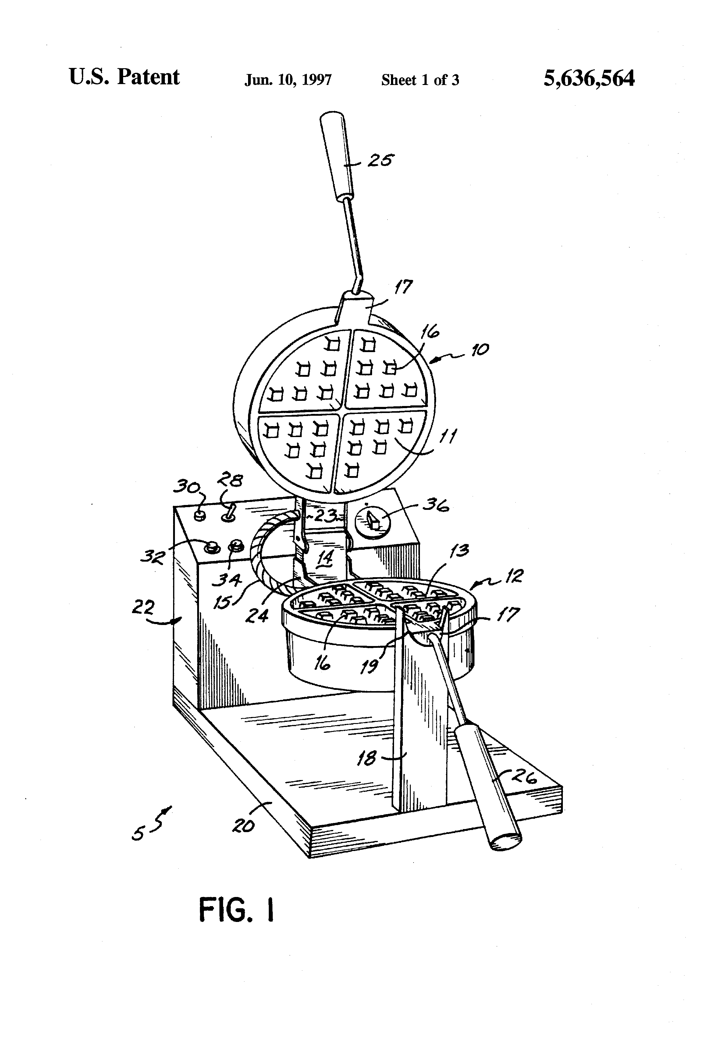 US5636564 1 patent us5636564 waffle maker with thermal controller google wells waffle maker commercial wiring diagrams at mifinder.co