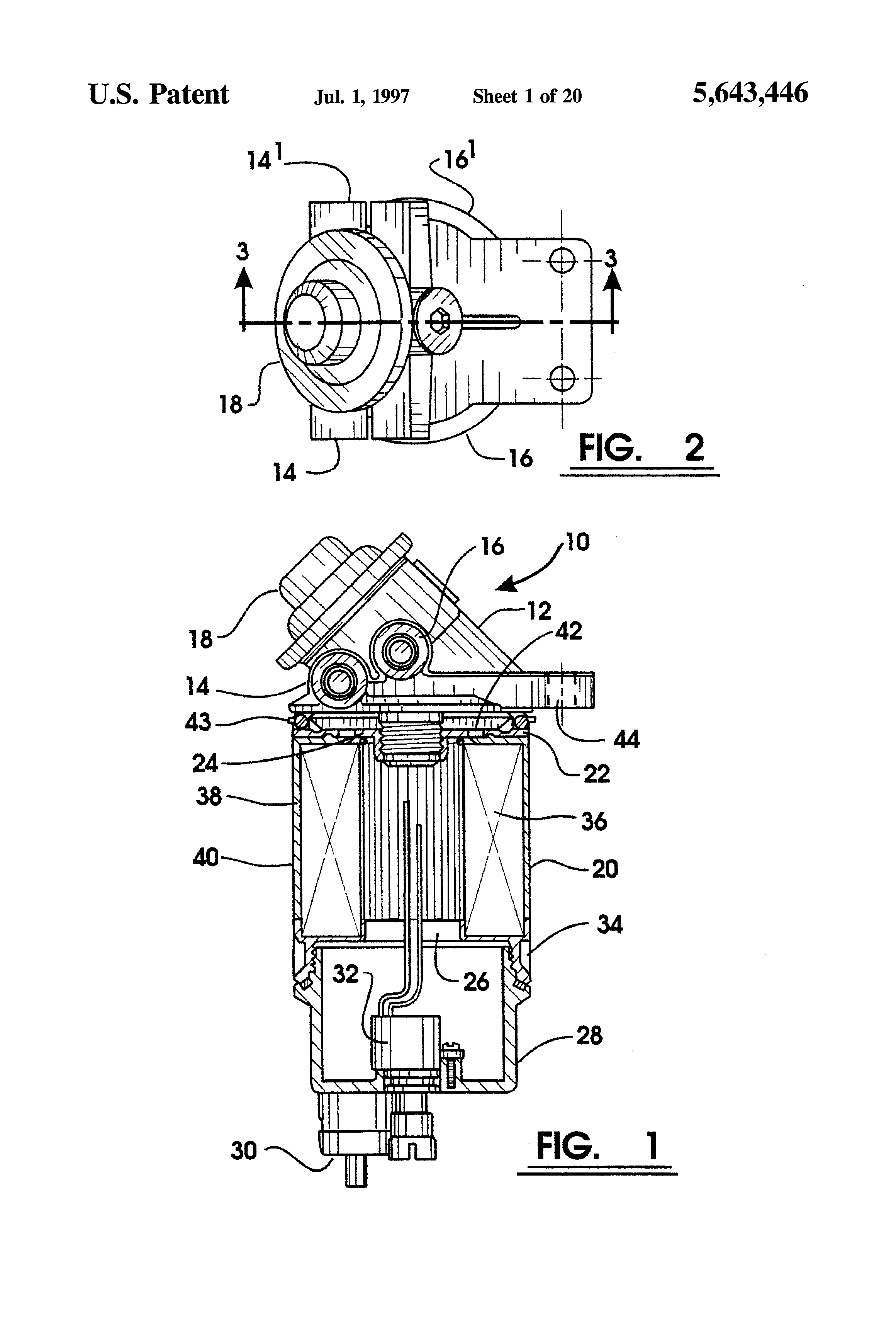 patent us5643446 - fuel filter and priming pump