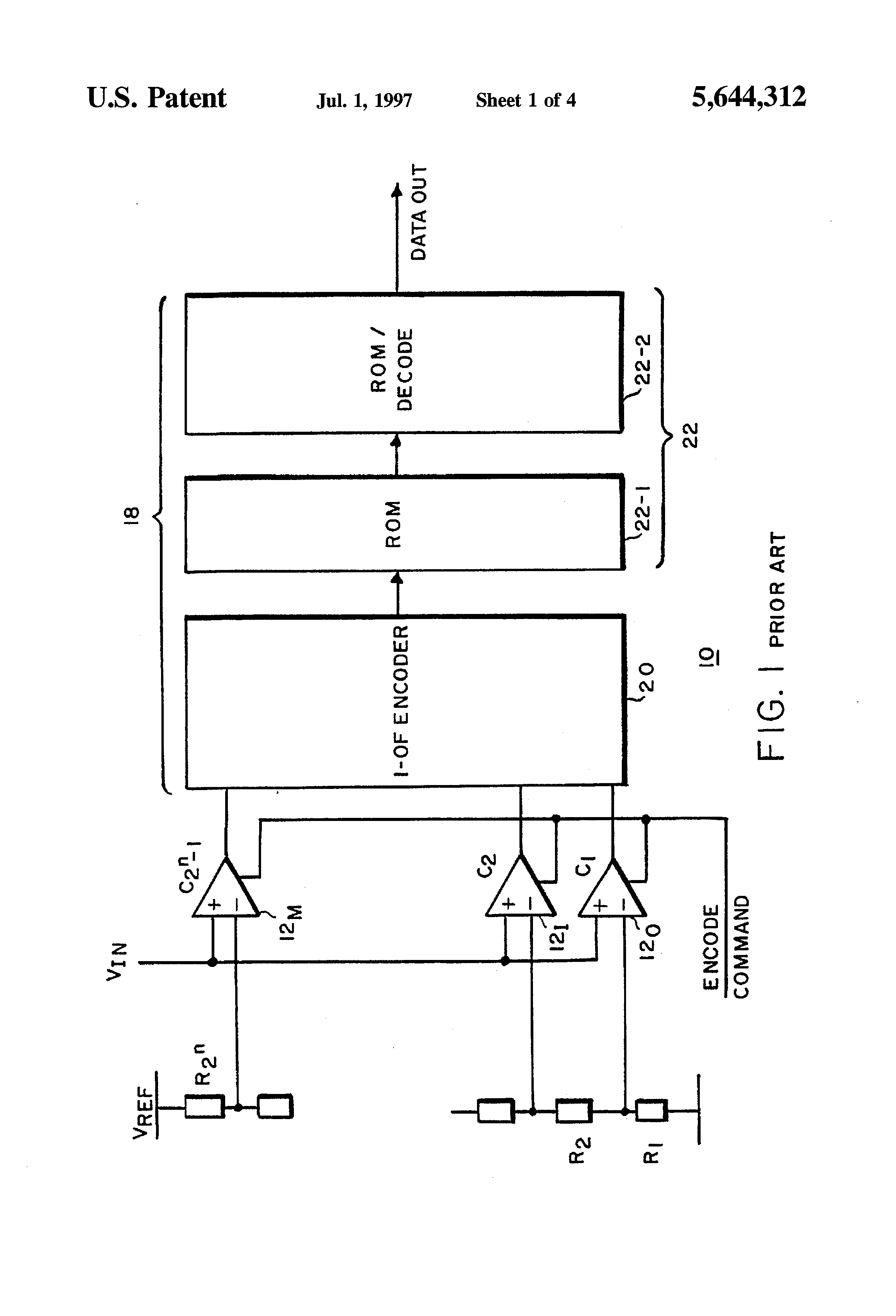 Patent Us5644312 Rom Encoder Circuit For Flash Adcs With 1 Bit Comparator Block Diagram Drawing