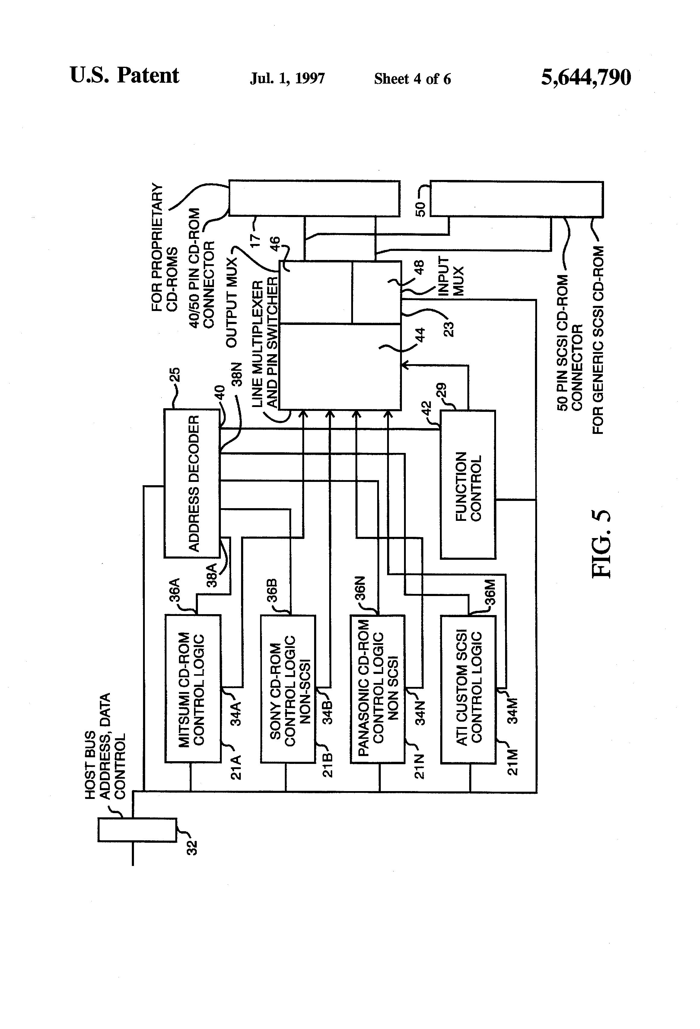 patent us5644790 universal cd rom interface using single patent drawing