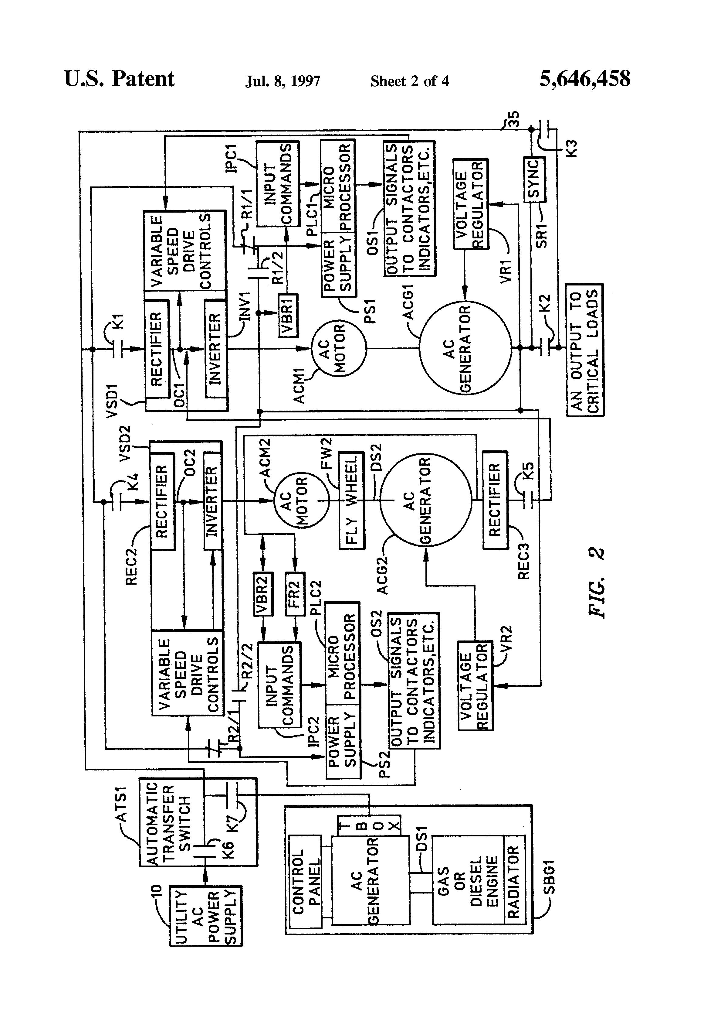 Patent US5646458 Uninterruptible Power System With A Flywheel US5646458 2 US5646458 Westerbeke Generator Wiring Diagram Stove