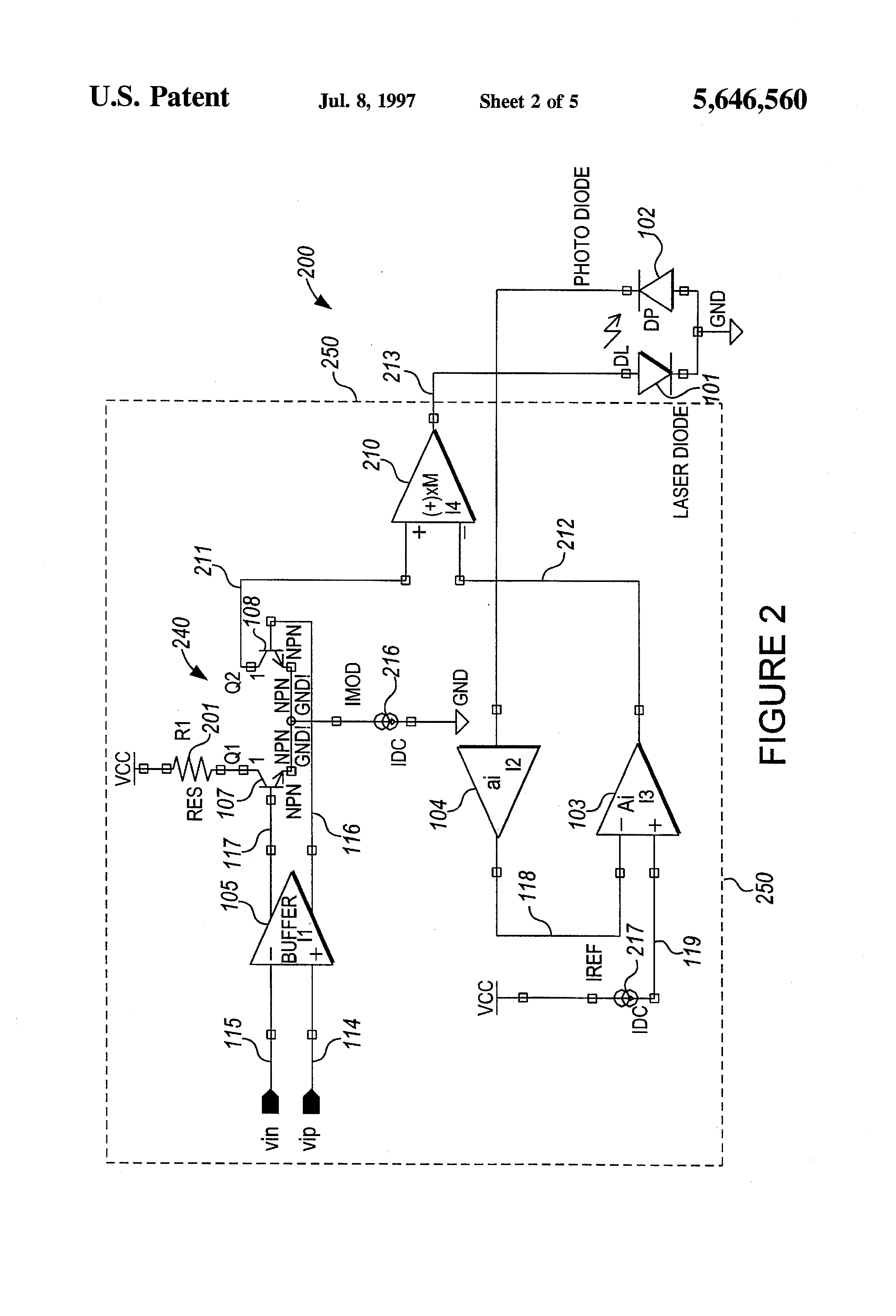 Patent Us5646560 Integrated Low Power Driver For A High Current Laser Diode Diagram Circuit Schematic Drawing