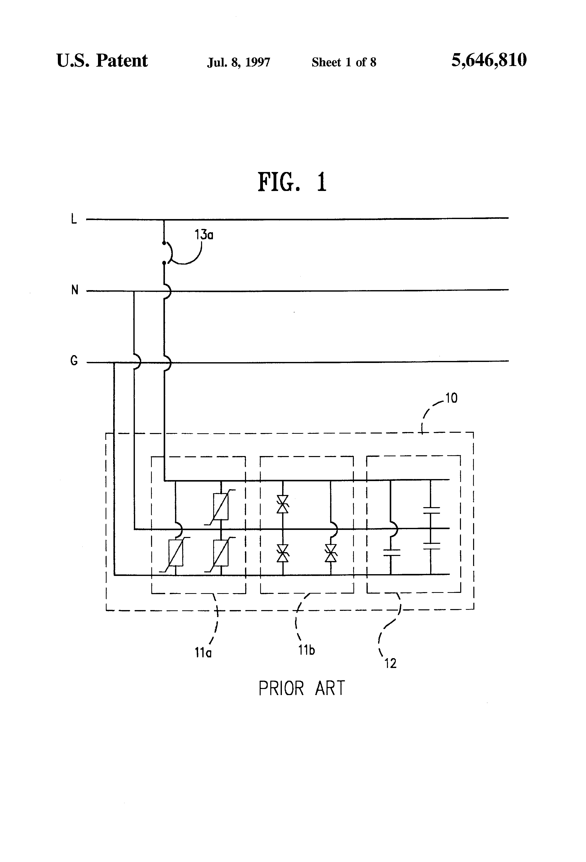 Patent Us5646810 Transient Voltage Surge Suppression And Electronic Crowbar For Ac Dc Lines Drawing