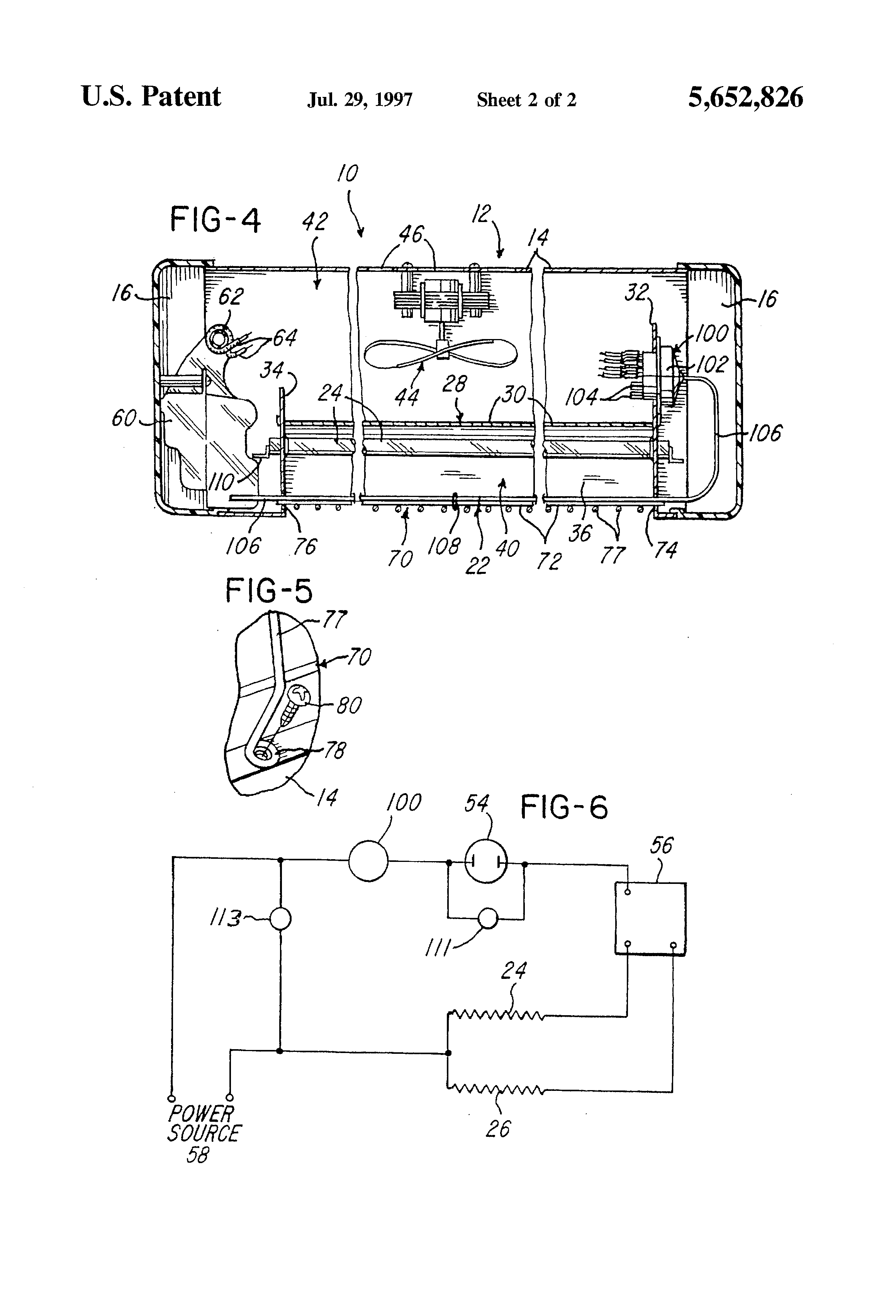 US5652826 3 patent us5652826 radiant electric space heater with capillary electric space heater wiring diagram at bayanpartner.co