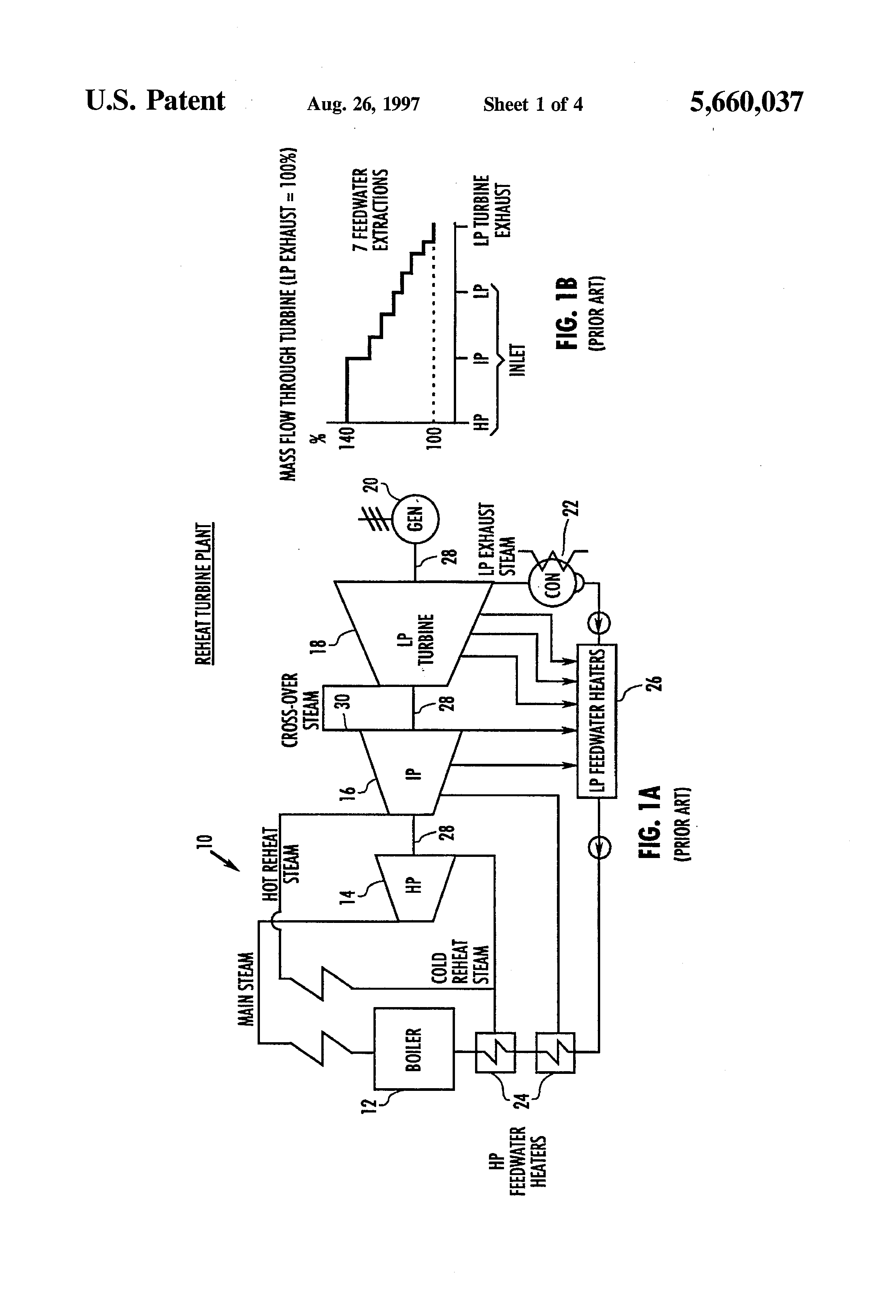Patent US Method for conversion of a reheat steam turbine
