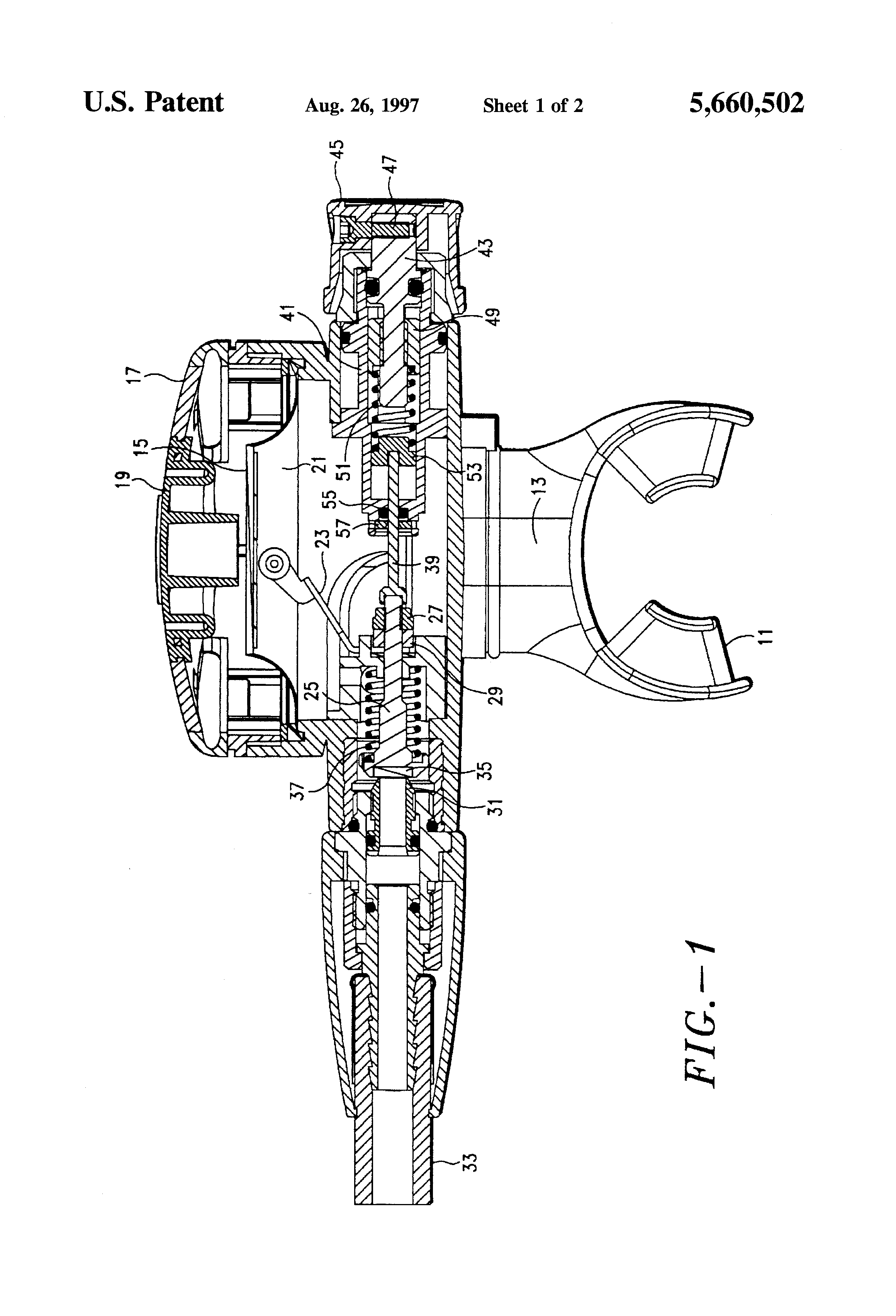 Patent Us5660502 - Adjustment Mechanism For A Scuba Second Stage Airflow Regulator