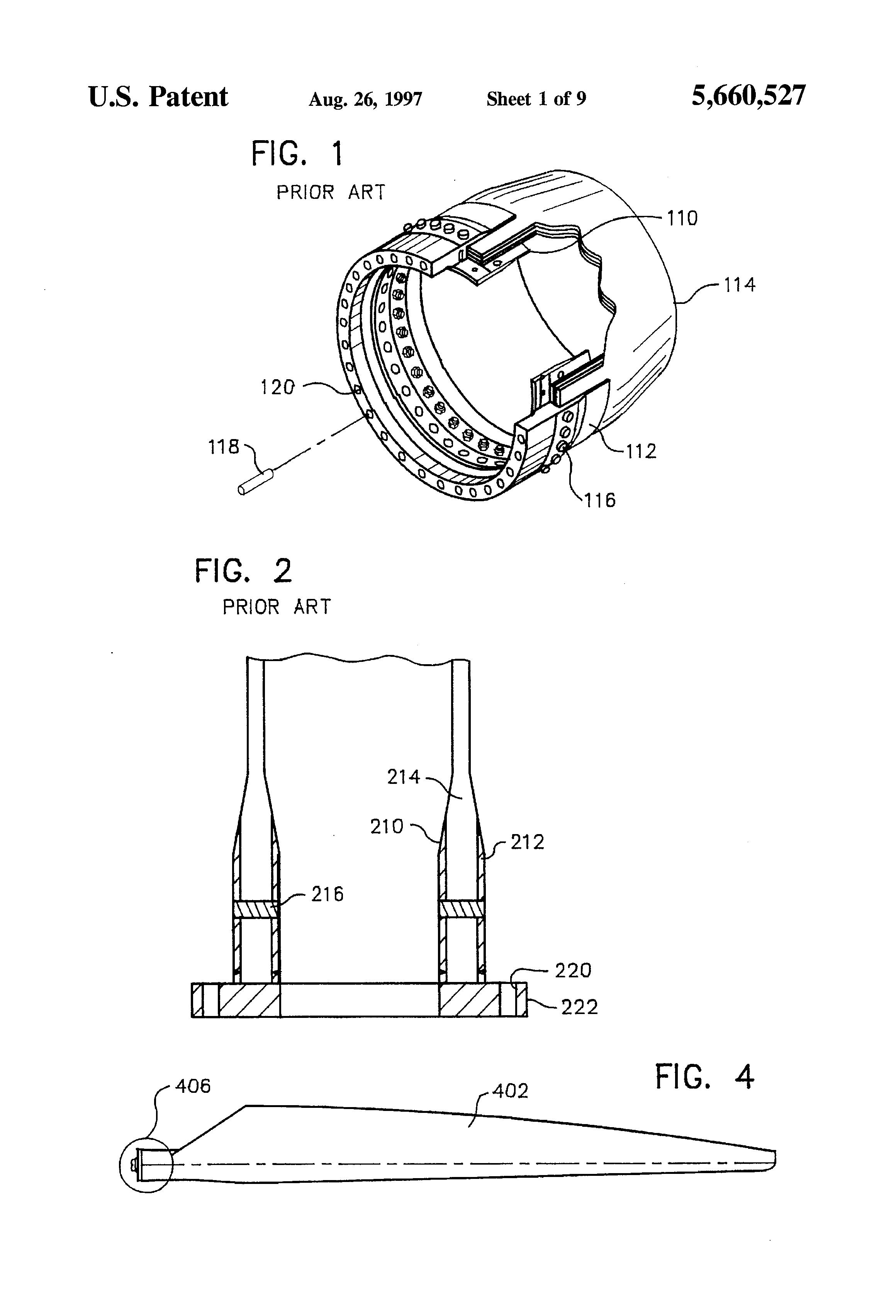 patent us5660527 - wind turbine rotor blade root end