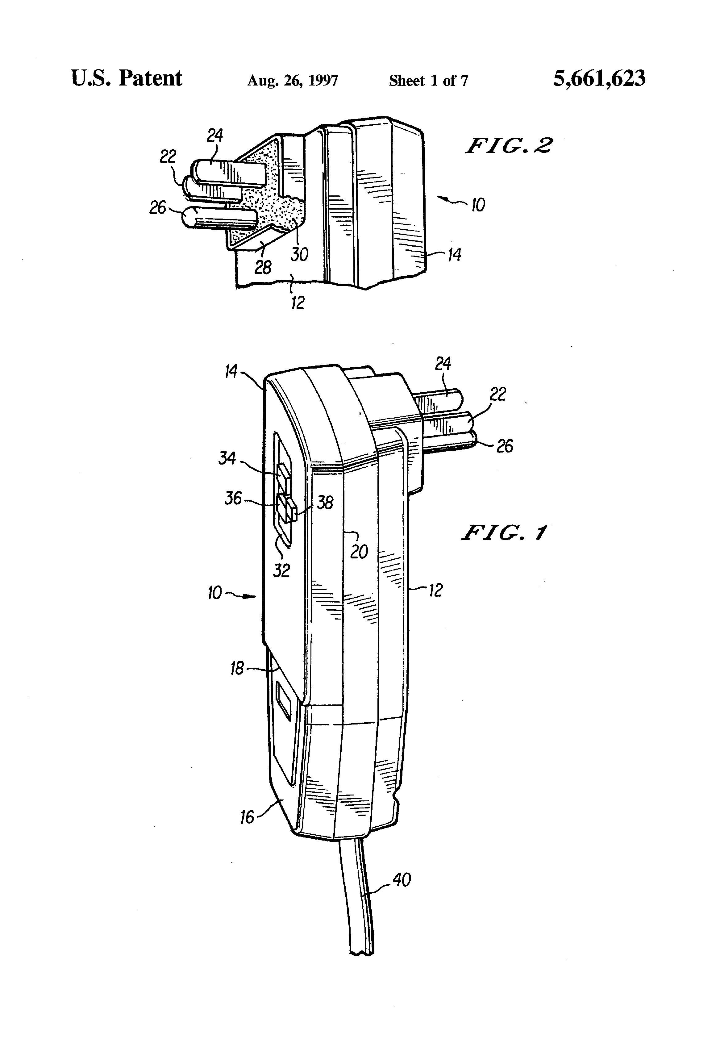 patent us5661623 - ground fault circuit interrupter plug