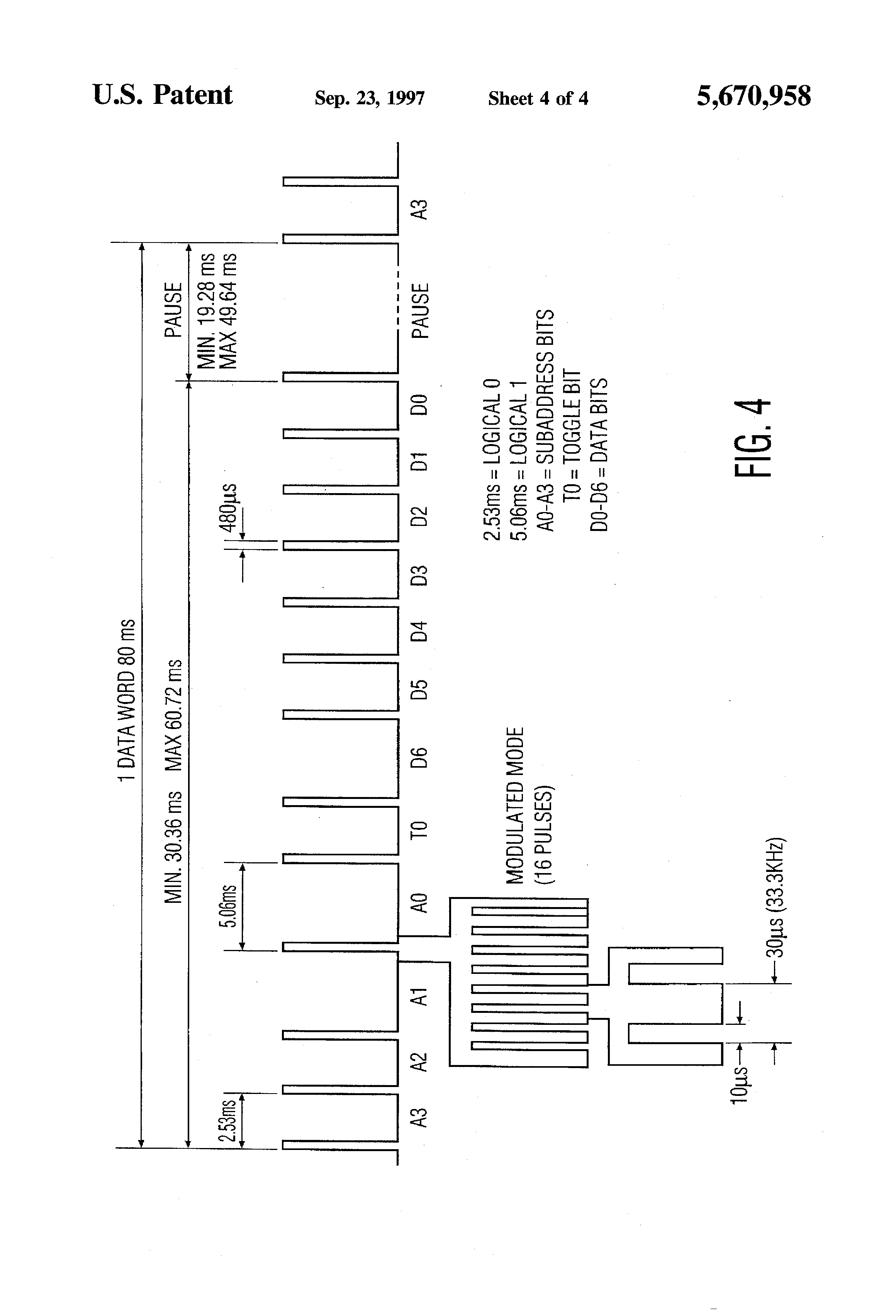 Patent Us5670958 Remote Control Method And Device Google Schematic Of 36 Khz To 40 Oscillator Infrared Emitter Drawing