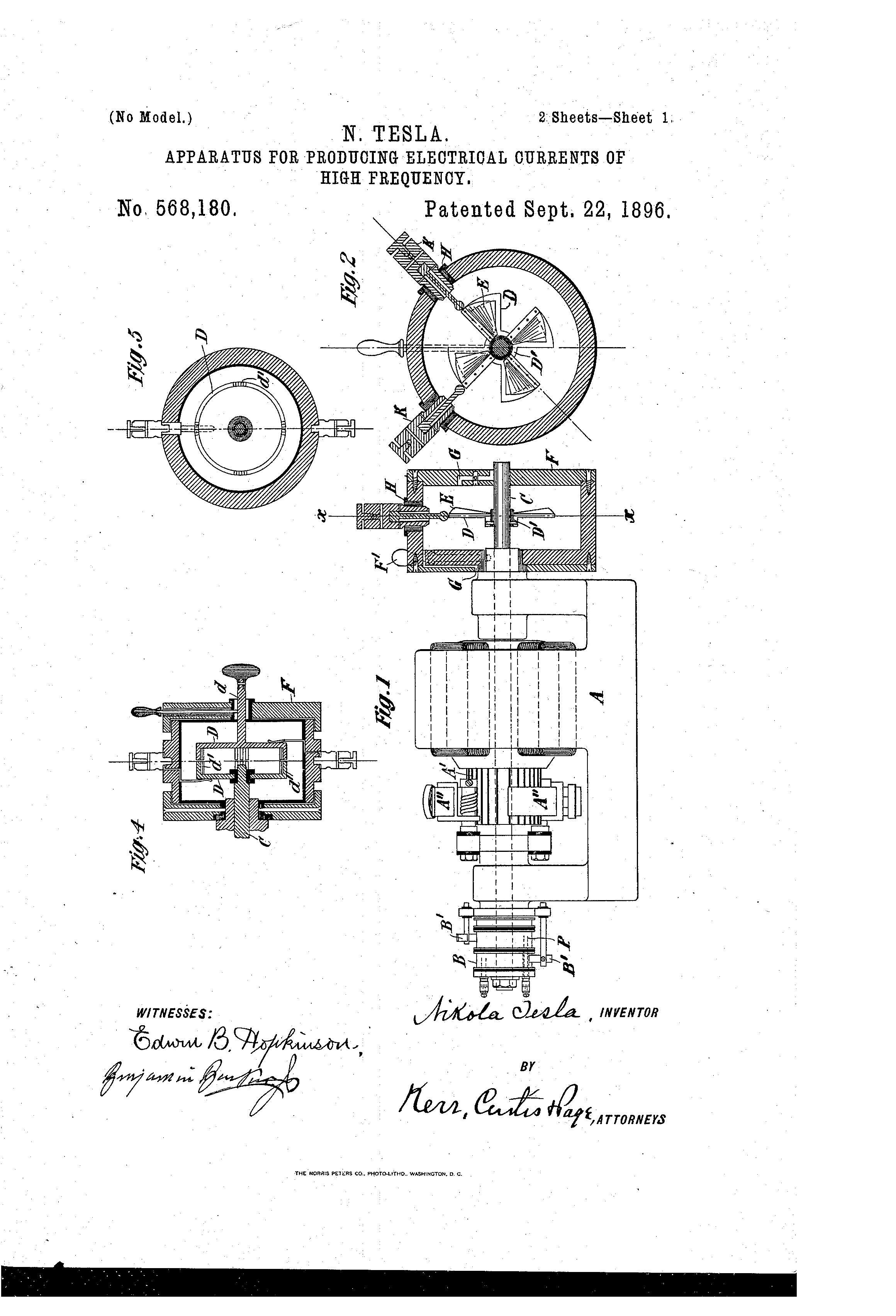 patent us568180 - nikola tesla