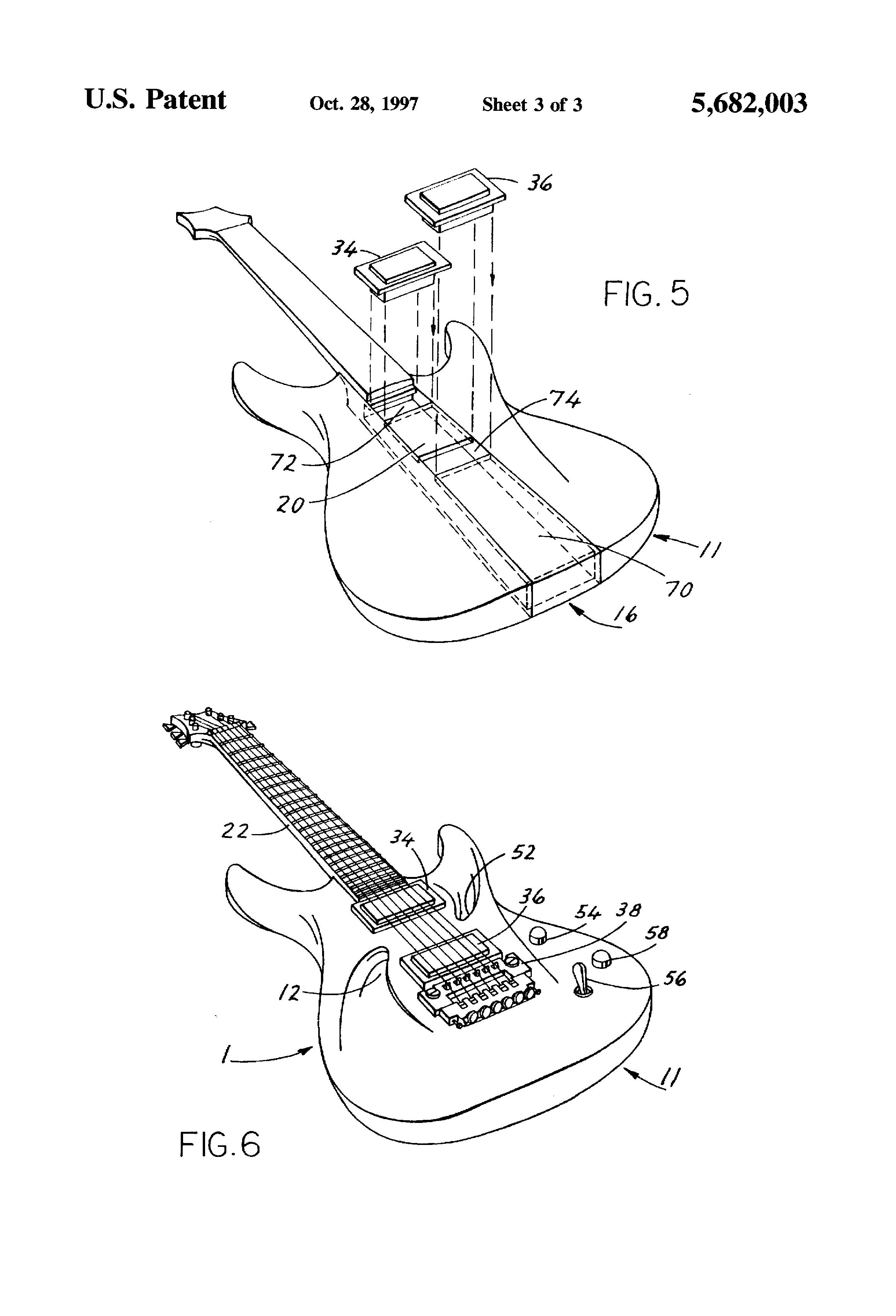 patent us5682003 - semi-acoustic electric guitar