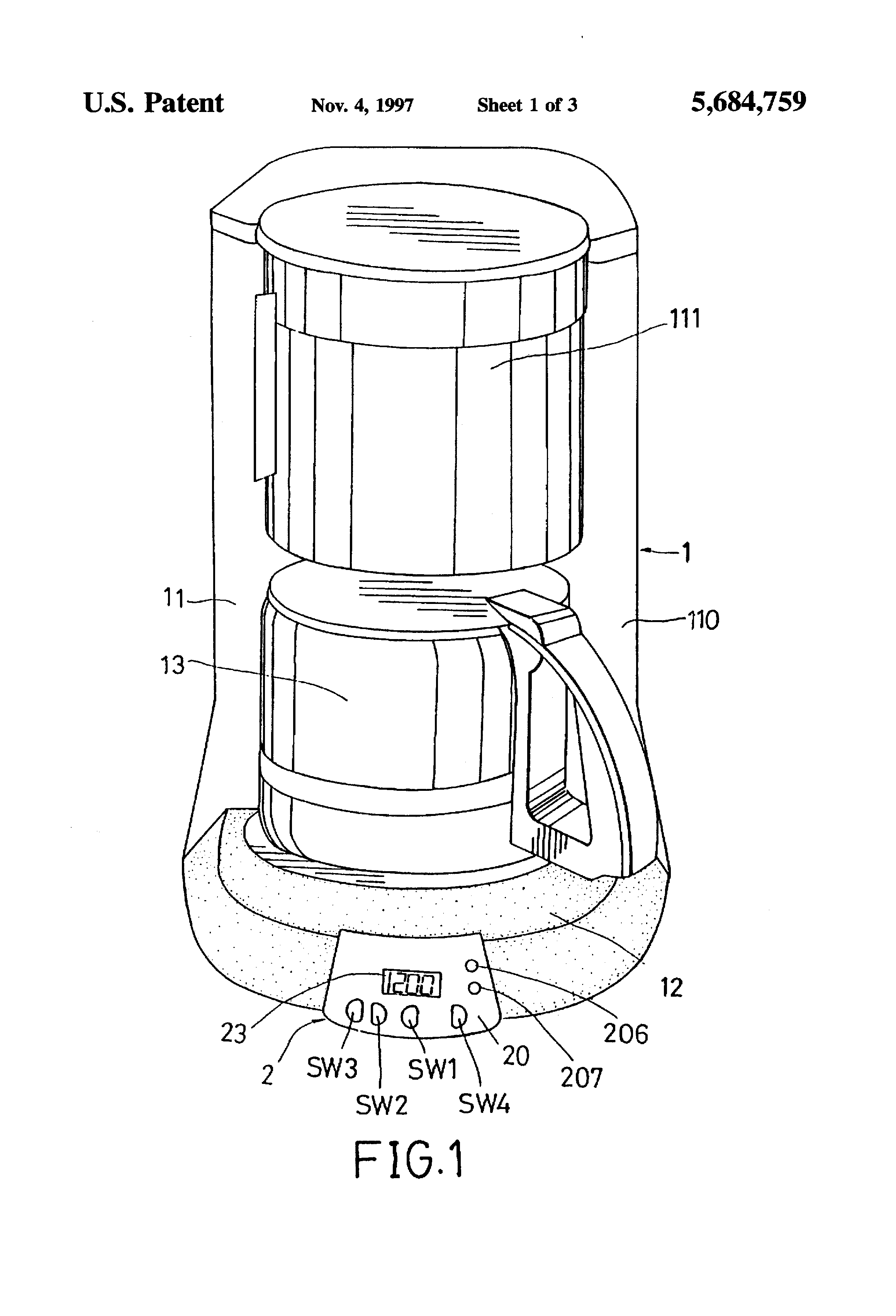 patent us5684759 - electronic timer for a coffee maker