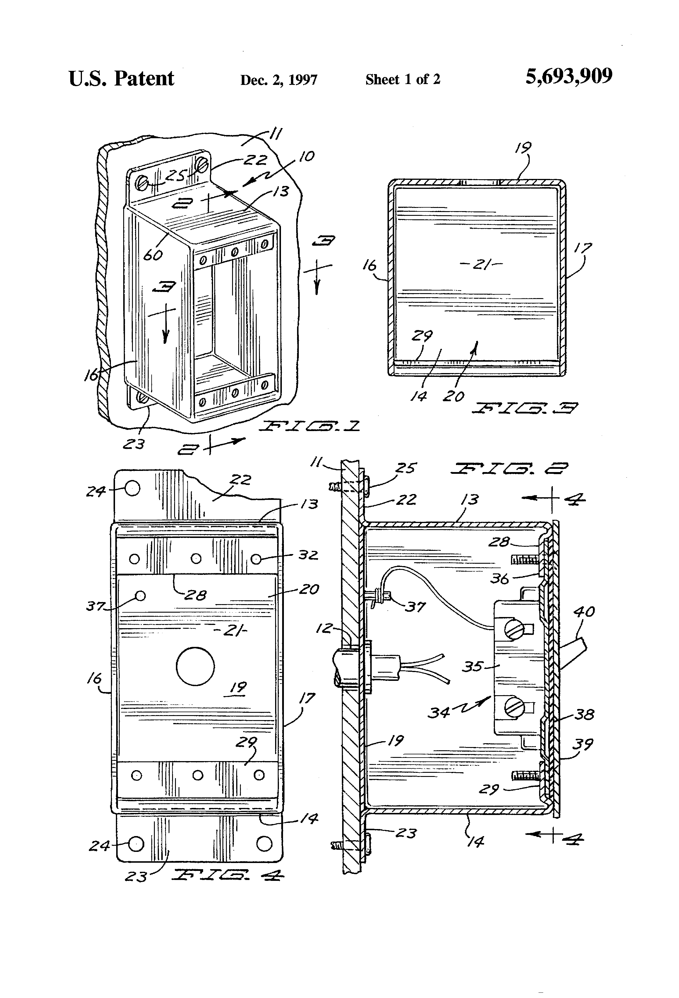 patent us5693909 - electrical device box for mounting in a clean room