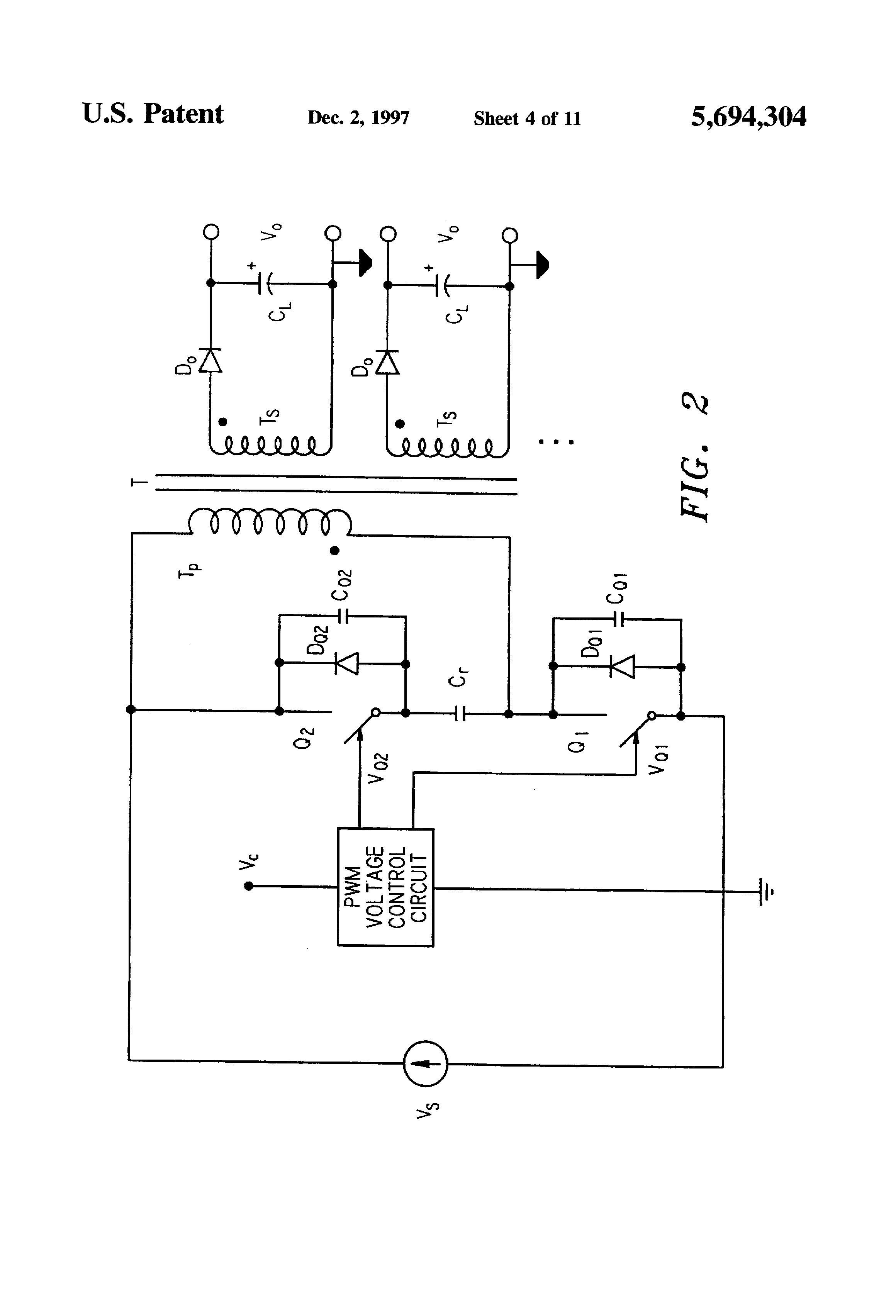 Patent Us5694304 High Efficiency Resonant Switching Converters Voltage Controlled Pwm Drawing
