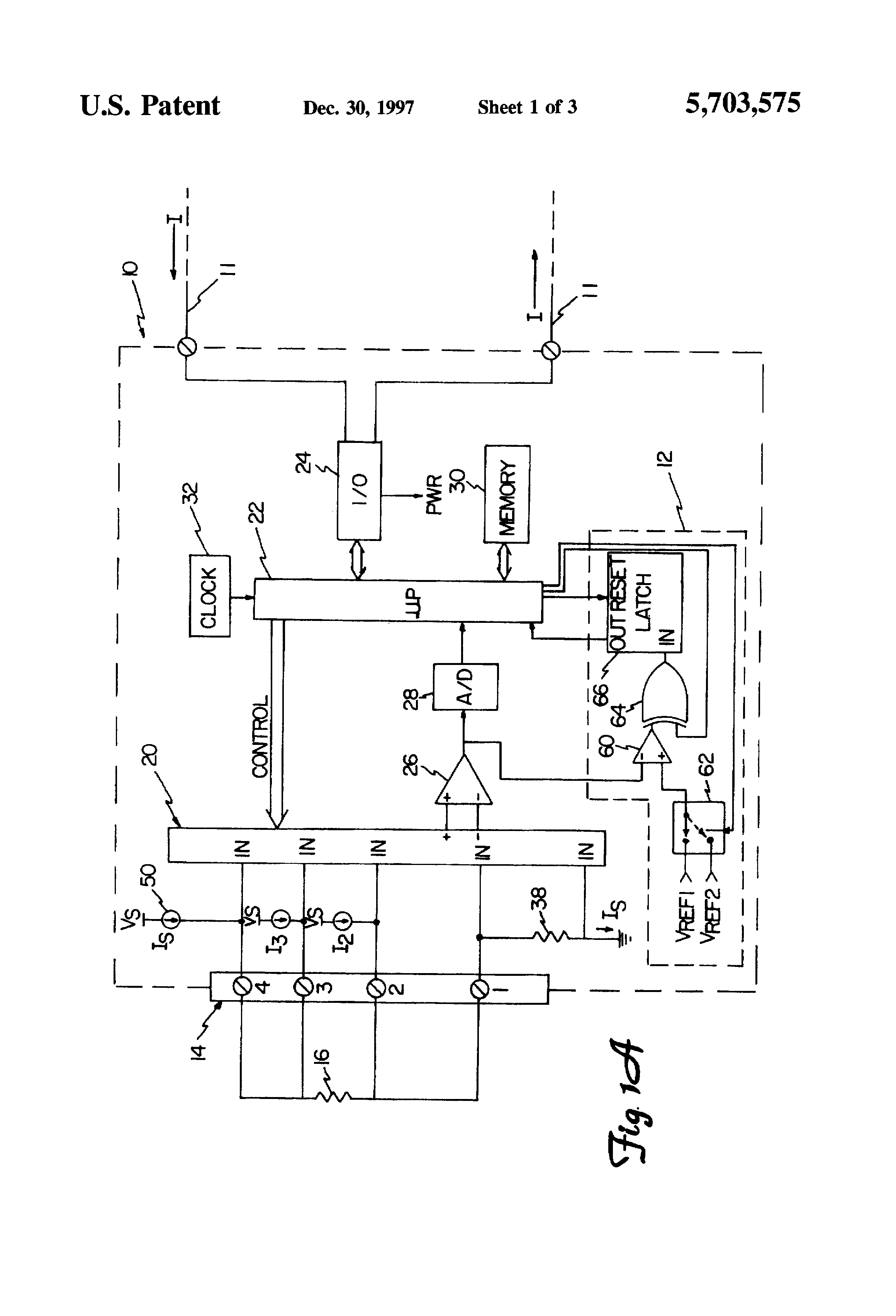 Patent Us5703575 Open Sensor Diagnostic System For Temperature Circuit Schematic Drawing
