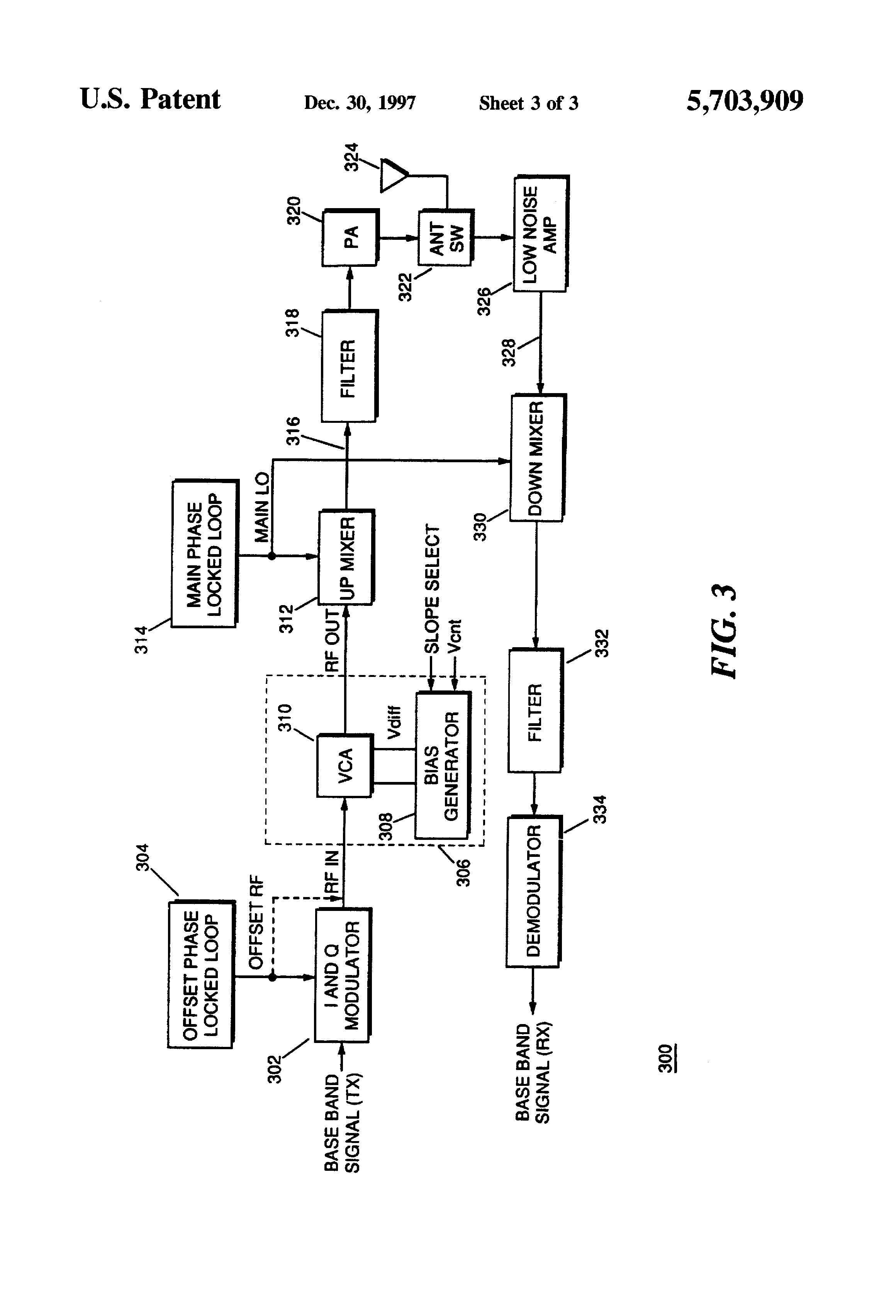 Patent Us5703909 Programmable Voltage Controlled Attenuator Drawing
