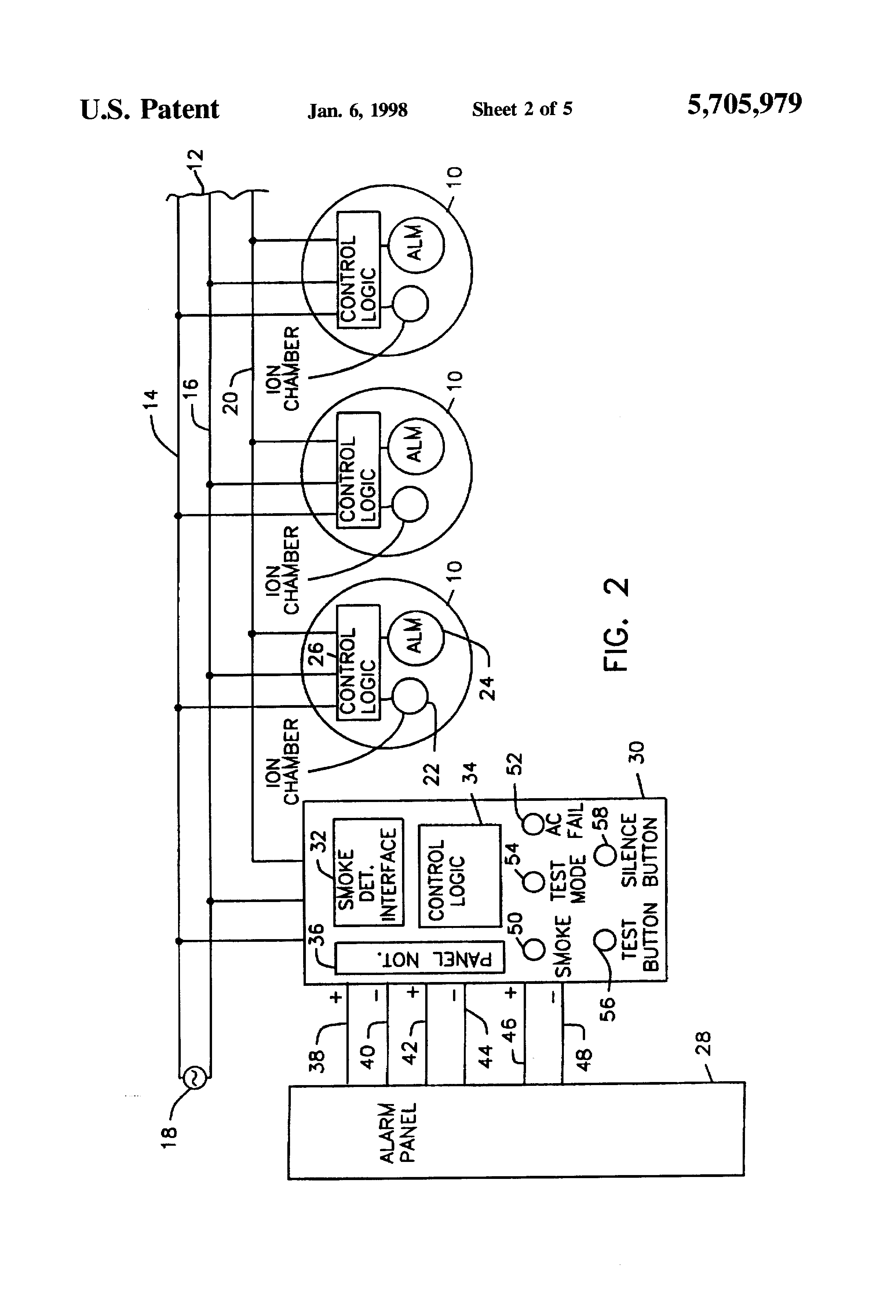 US5705979 2 patent us5705979 smoke detector alarm panel interface unit conventional smoke detector wiring diagram at gsmx.co