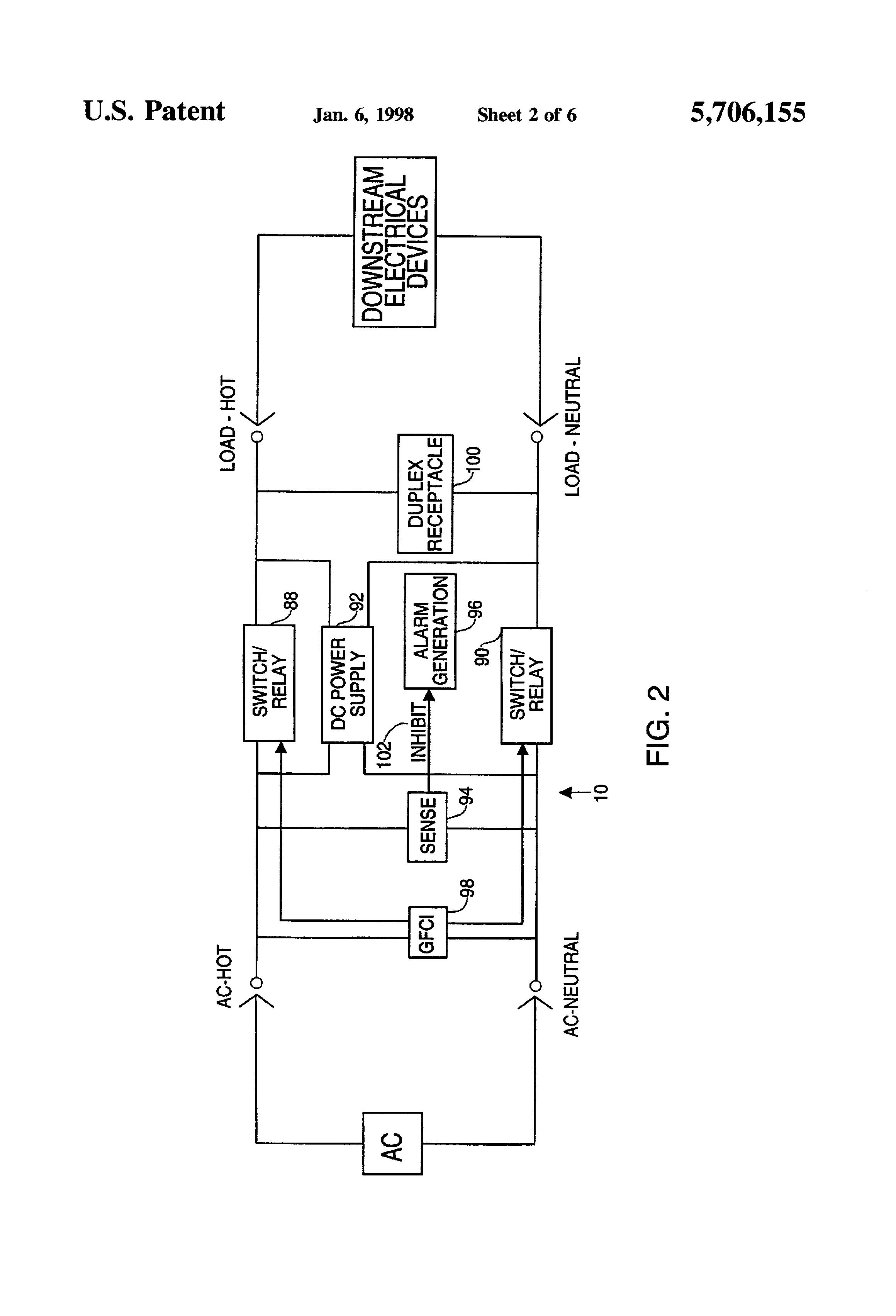patent us5706155 ground fault circuit interrupter incorporating rh google com pg