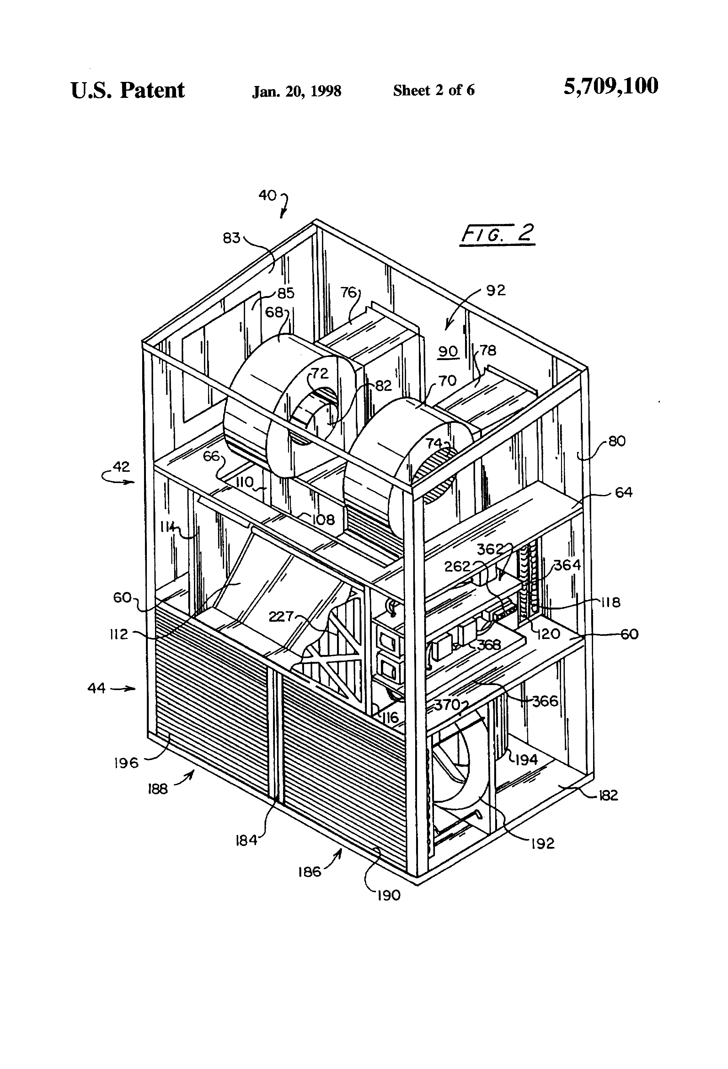 patent us5709100 air conditioning for communications stations patent drawing