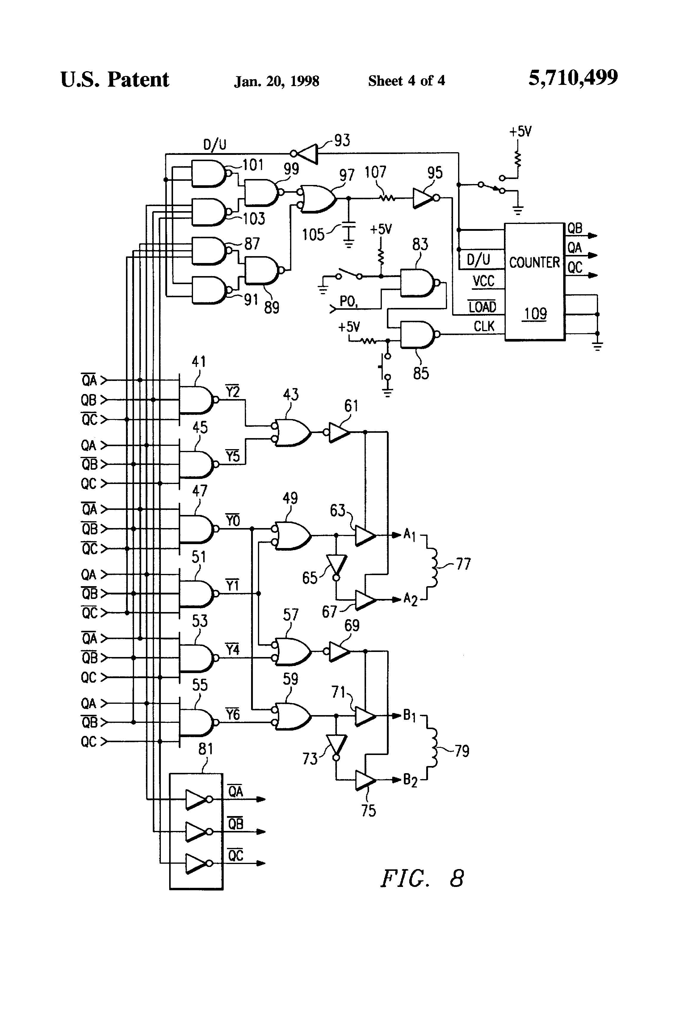 Brevet Us5710499 Stepper Motor Control Circuit And Method Google Schematic Symbols Chart As Well Driver Diagram Patent Drawing