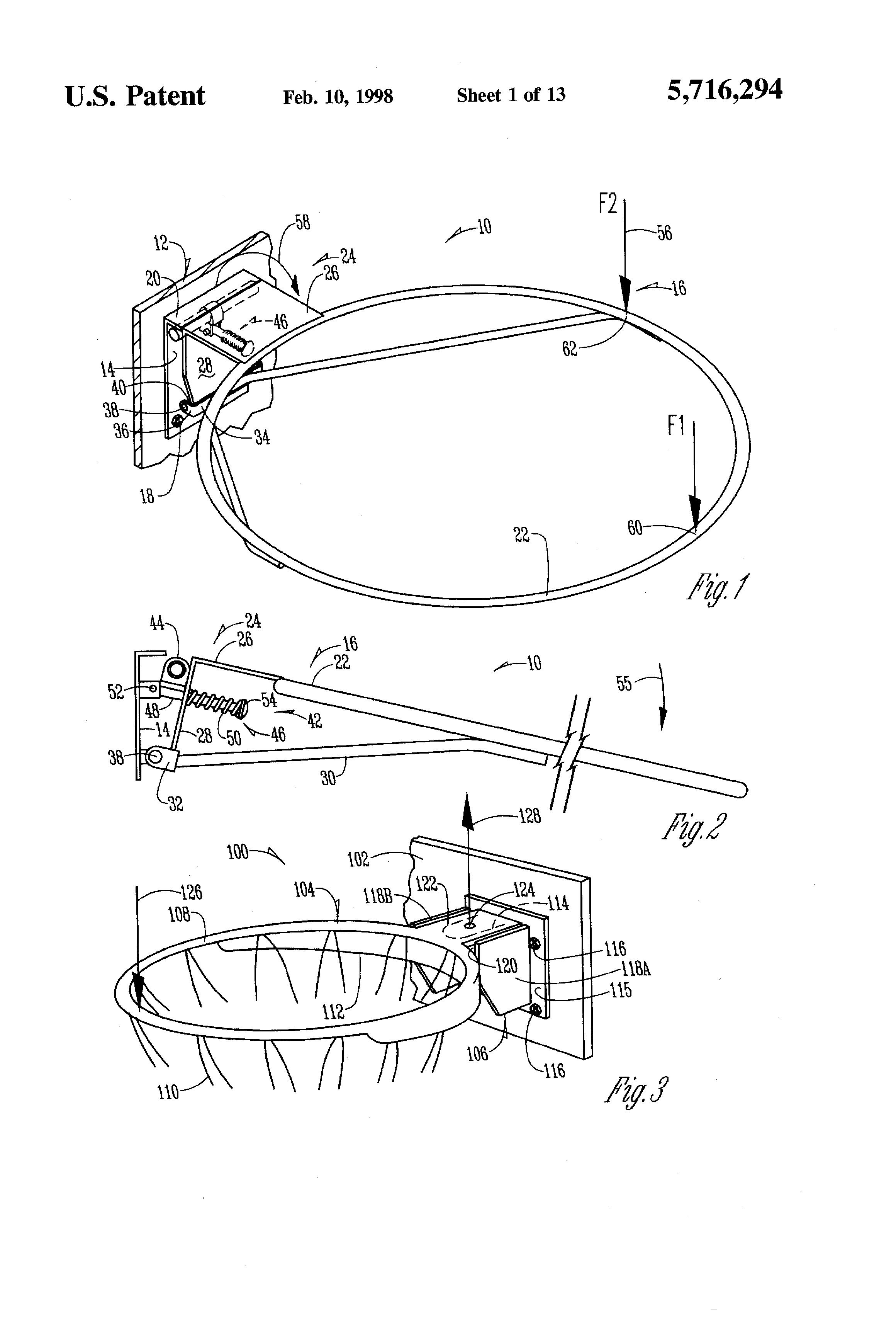 Patent US5716294 - Breakaway basketball rim assembly - Google Patents