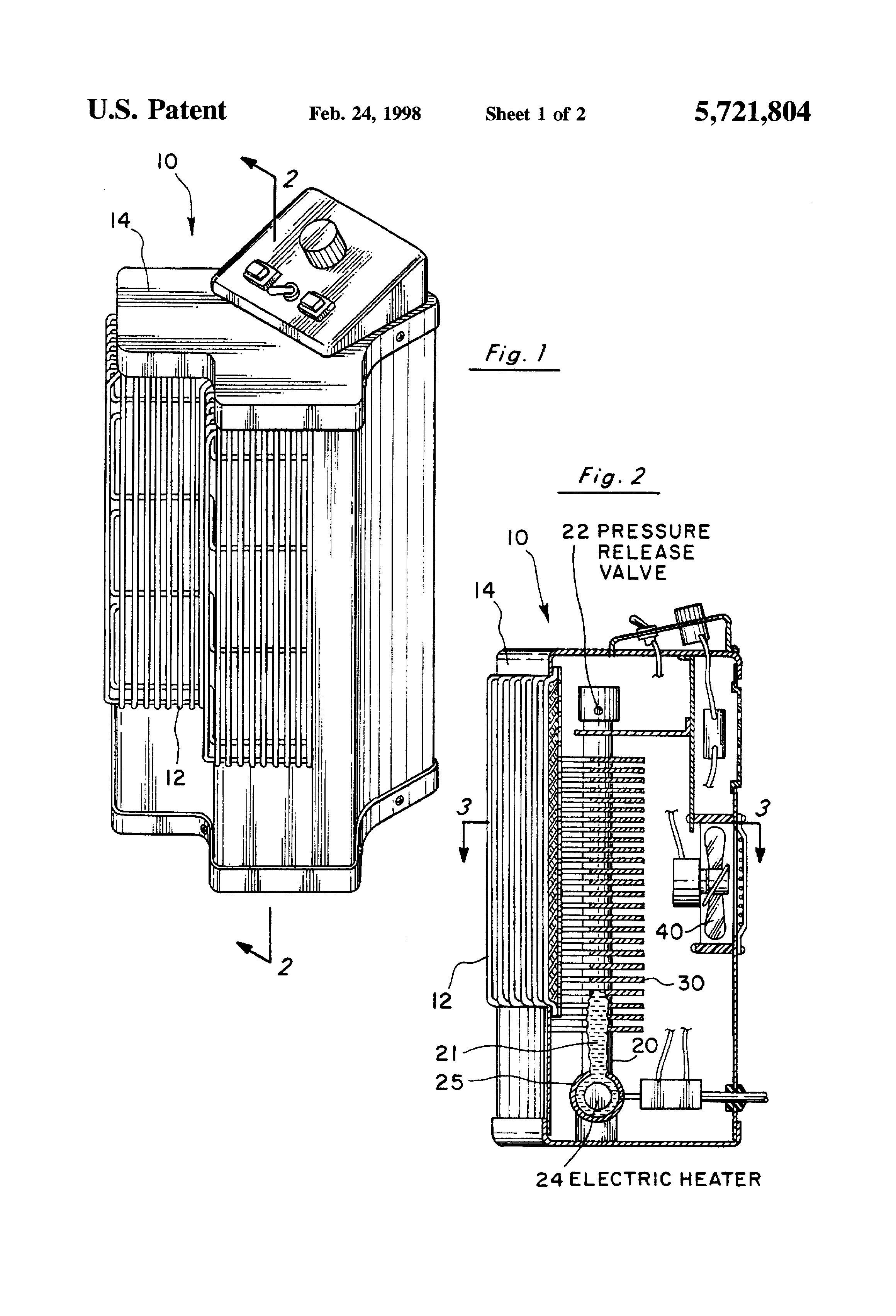 patent us5721804 - y-shaped portable electric space heater with