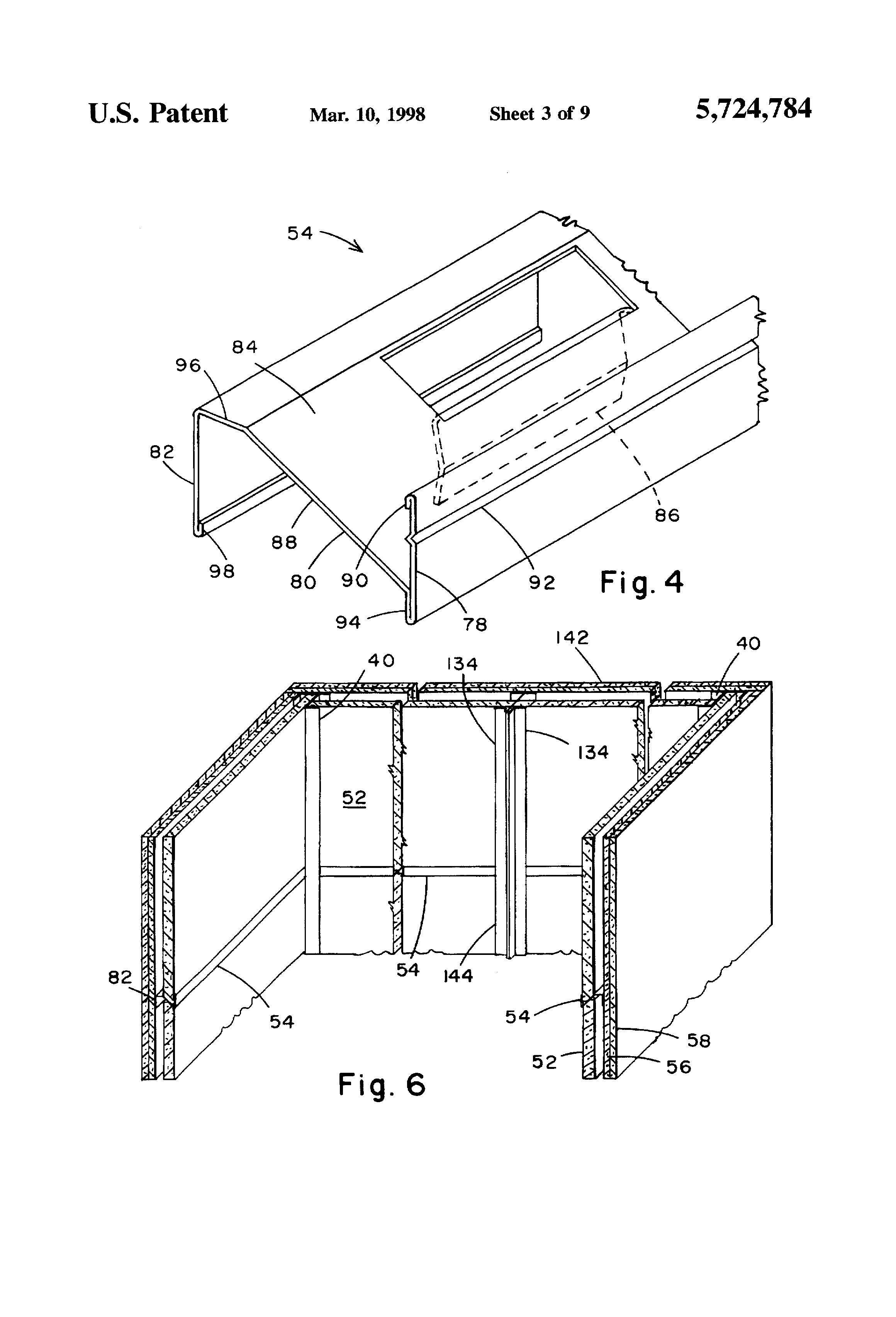 براءة الاختراع US5724784 - Shaft wall and horizontal metal ...