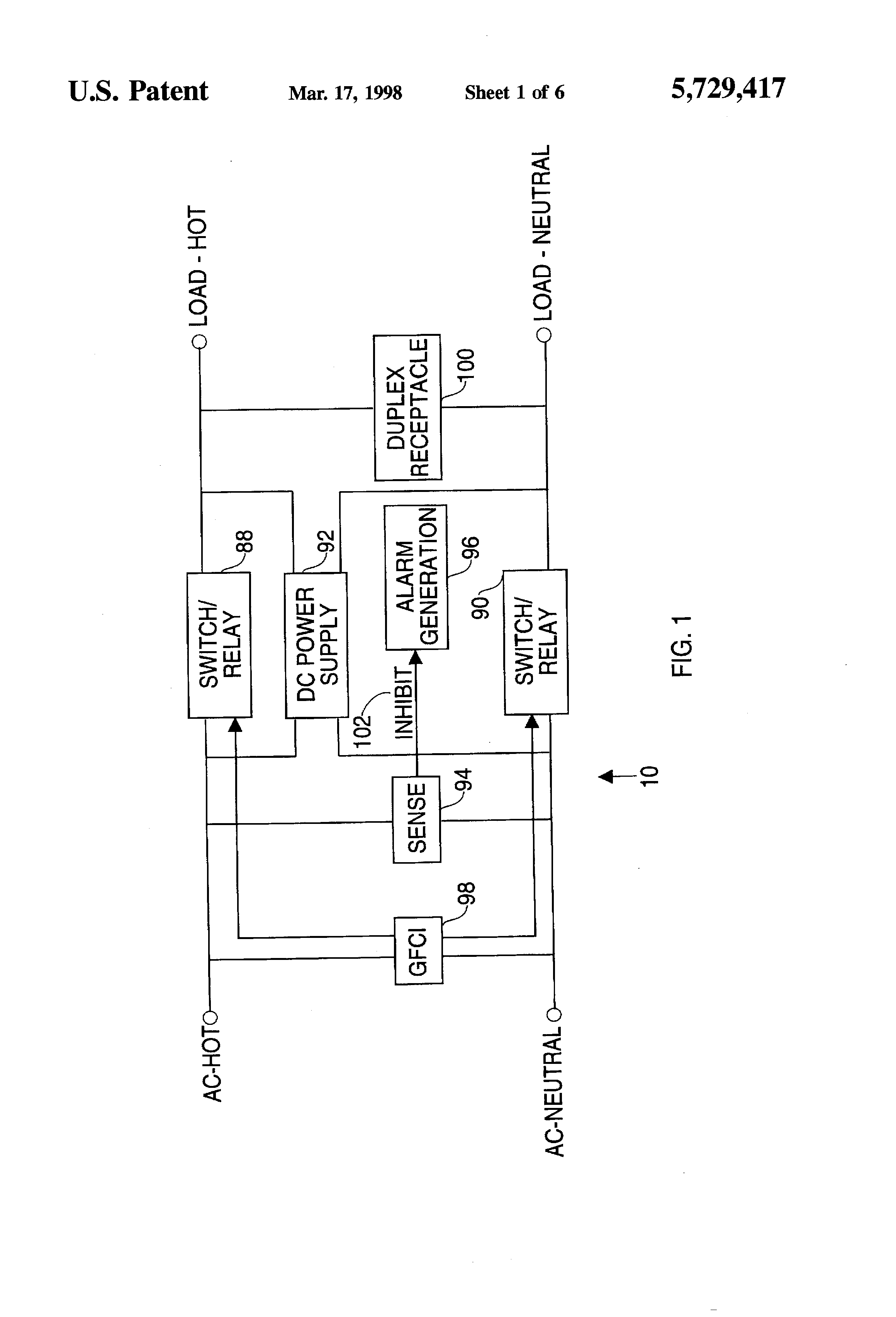 patent us5729417 ground fault circuit interrupter incorporating rh google com pg
