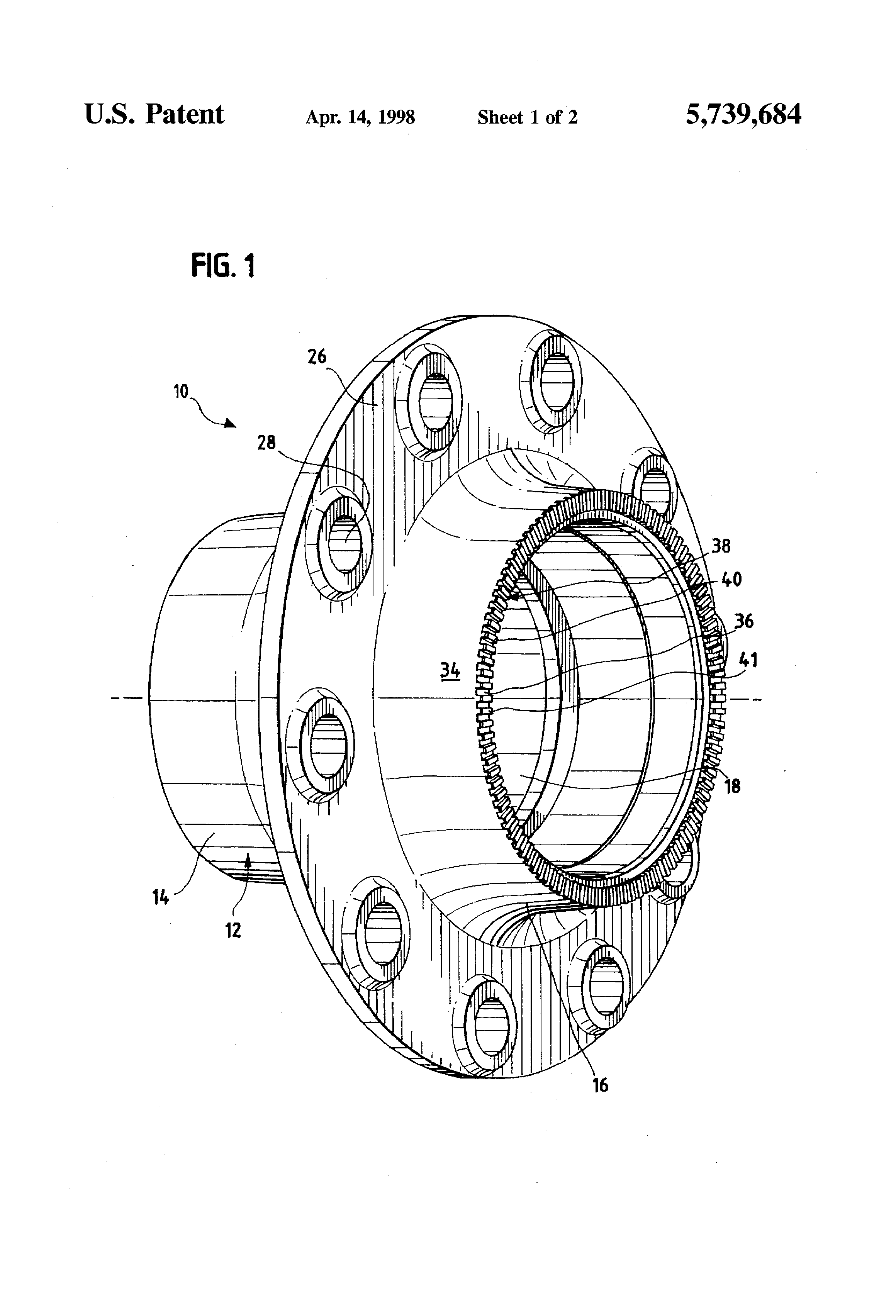 patent us unitarily formed hub and abs exciter ring  patent drawing