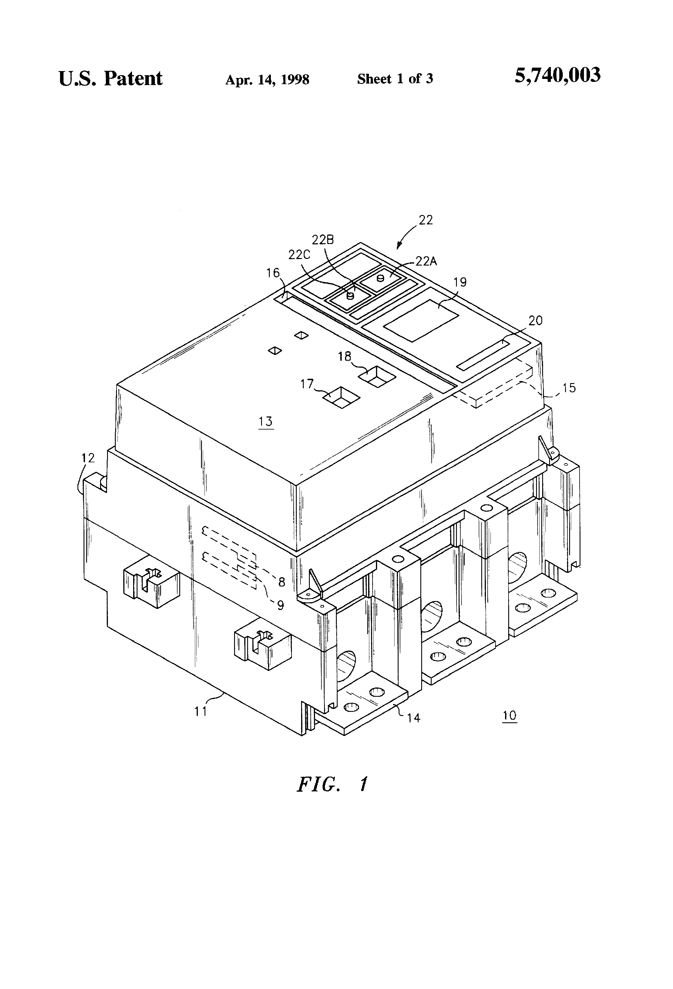 patent us5740003 - circuit breaker shunt trip accessory with mechanical override